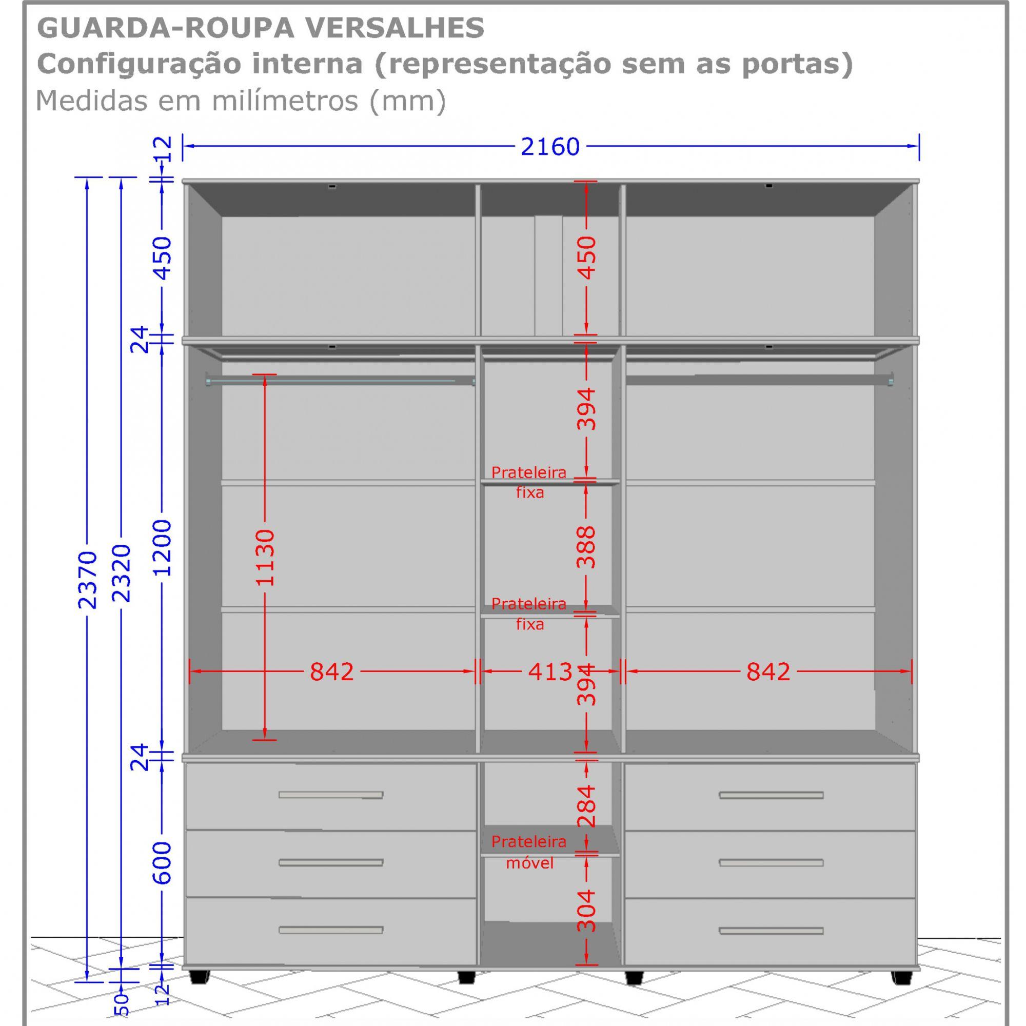 Guarda-Roupa 5 Portas Versales Cinamomo / Off White - Móveis Bechara