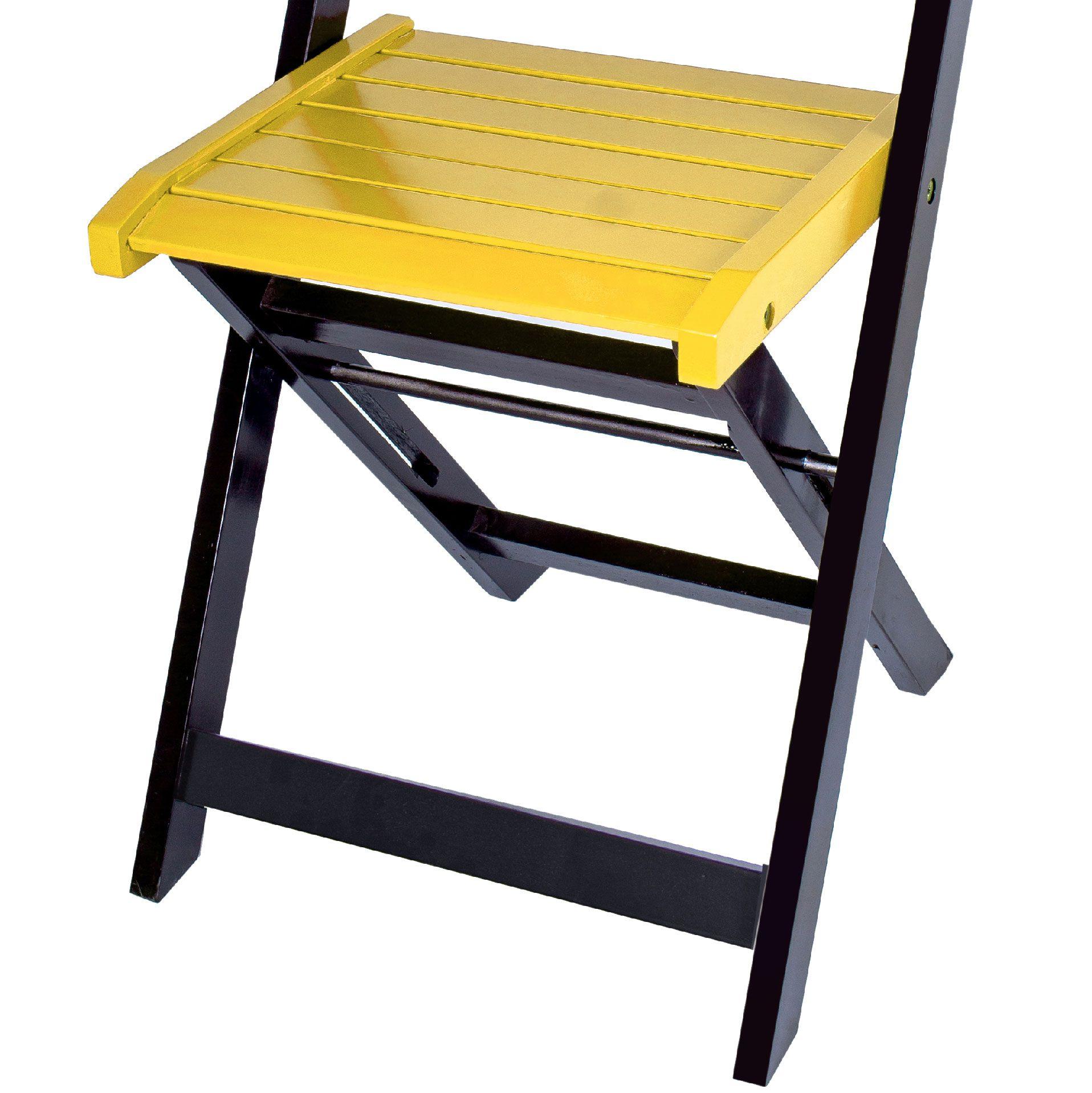 Jogo 4 Cadeiras para Sorveteria Amarelo Dobráveis