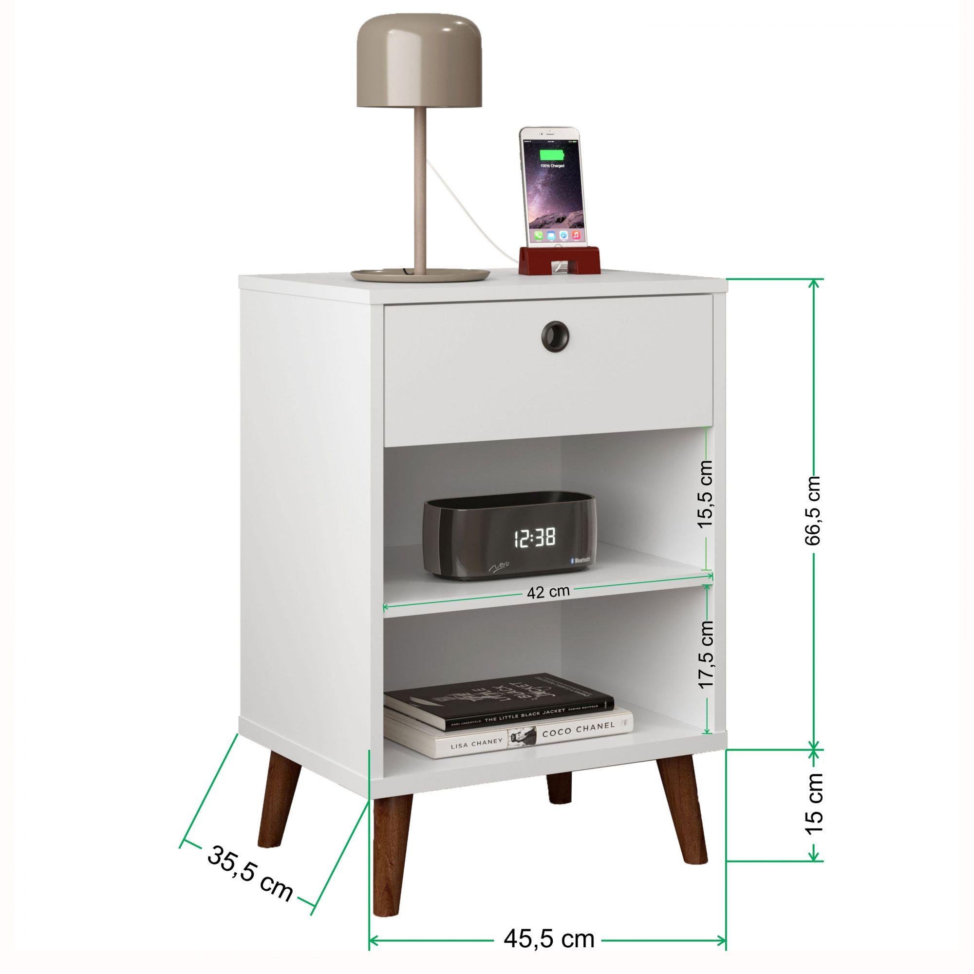 Kit 2 Mesas de Cabeceira Retrô Dubai Branco - LH Móveis