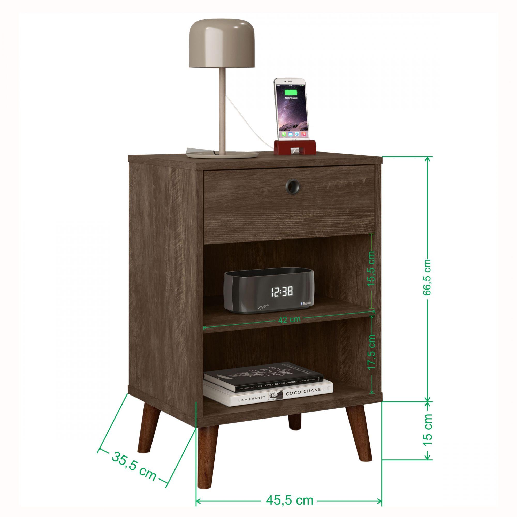 Kit 2 Mesas de Cabeceira Retrô Dubai Castanho Wood - LH Móveis
