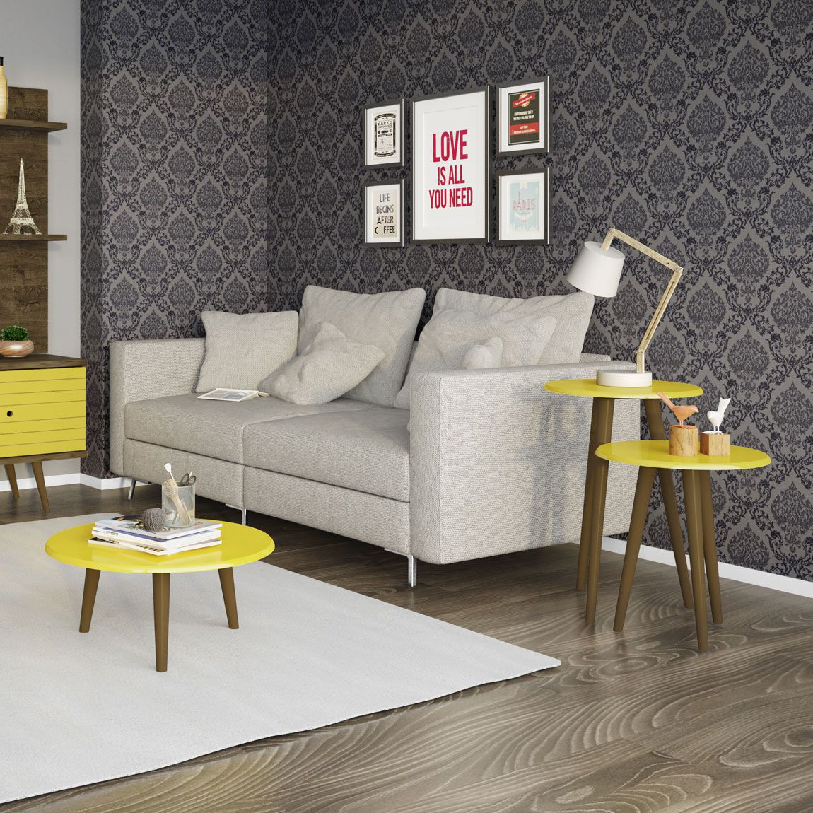 Kit Mesas Retrô para Sala Amarelo - Móveis Bechara