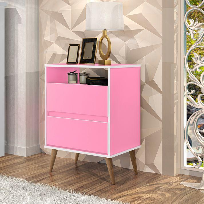 Mesa de Cabeceira Lotus 2 Gavetas Rosa - J.A Móveis