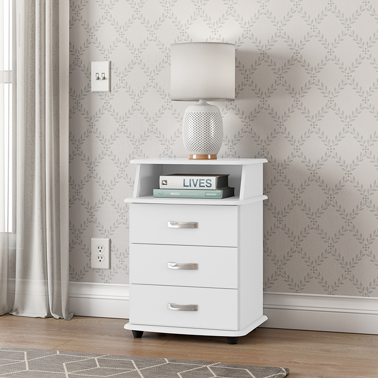Mesa de Cabeceira Luxo 3 Gavetas Branco - EJ Móveis