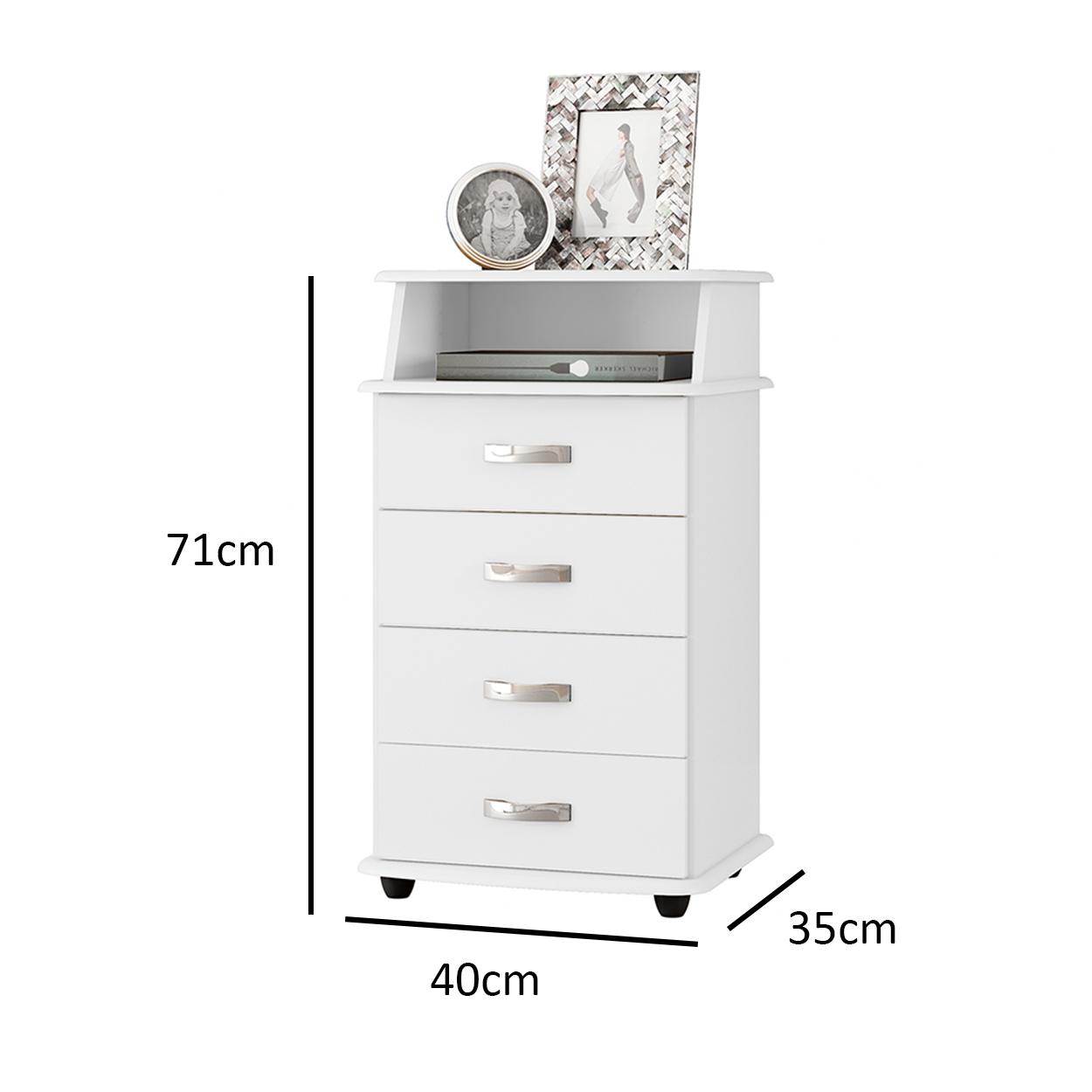 Mesa de Cabeceira Luxo II Branco - EJ Móveis