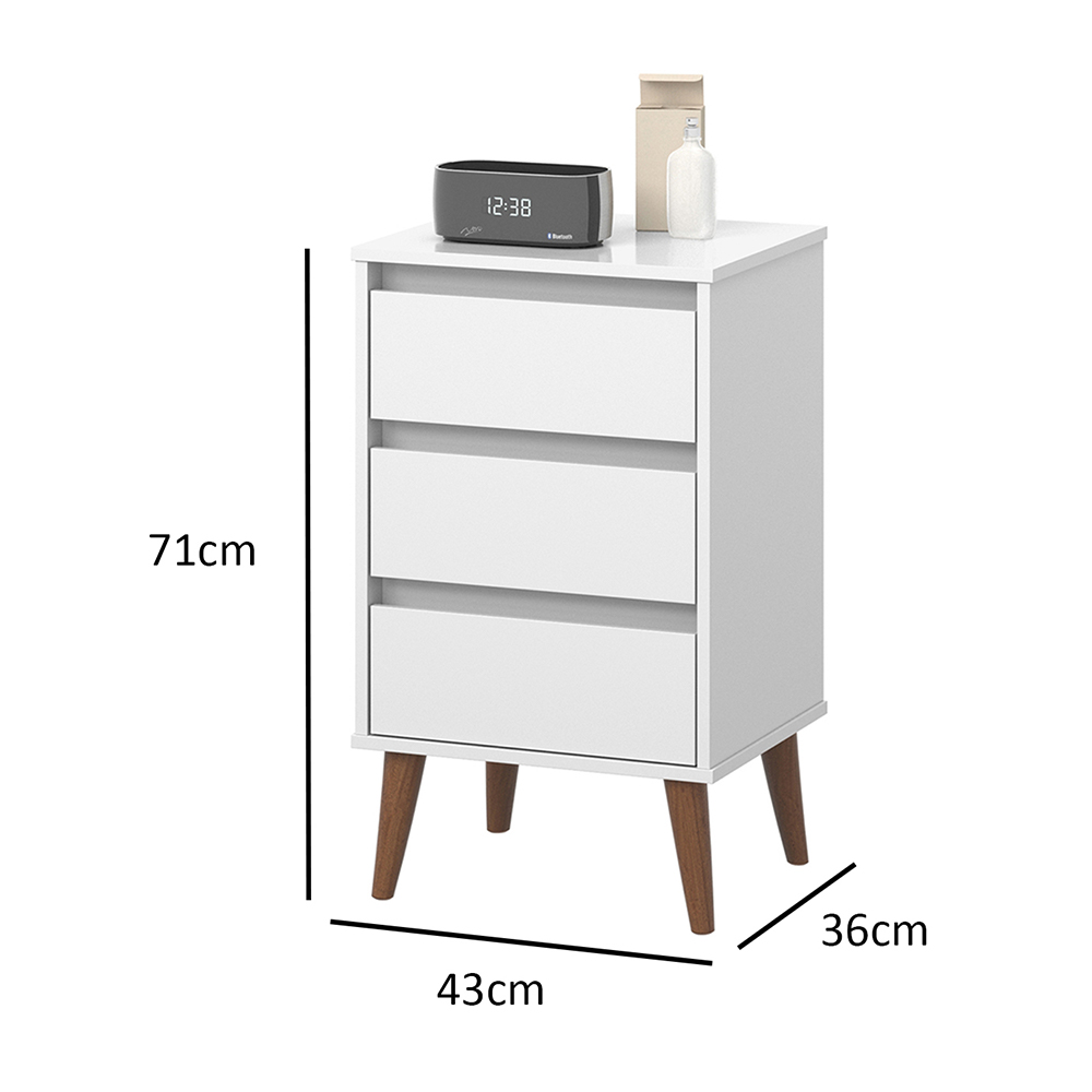 Mesa de Cabeceira Wood Branco - EJ Móveis