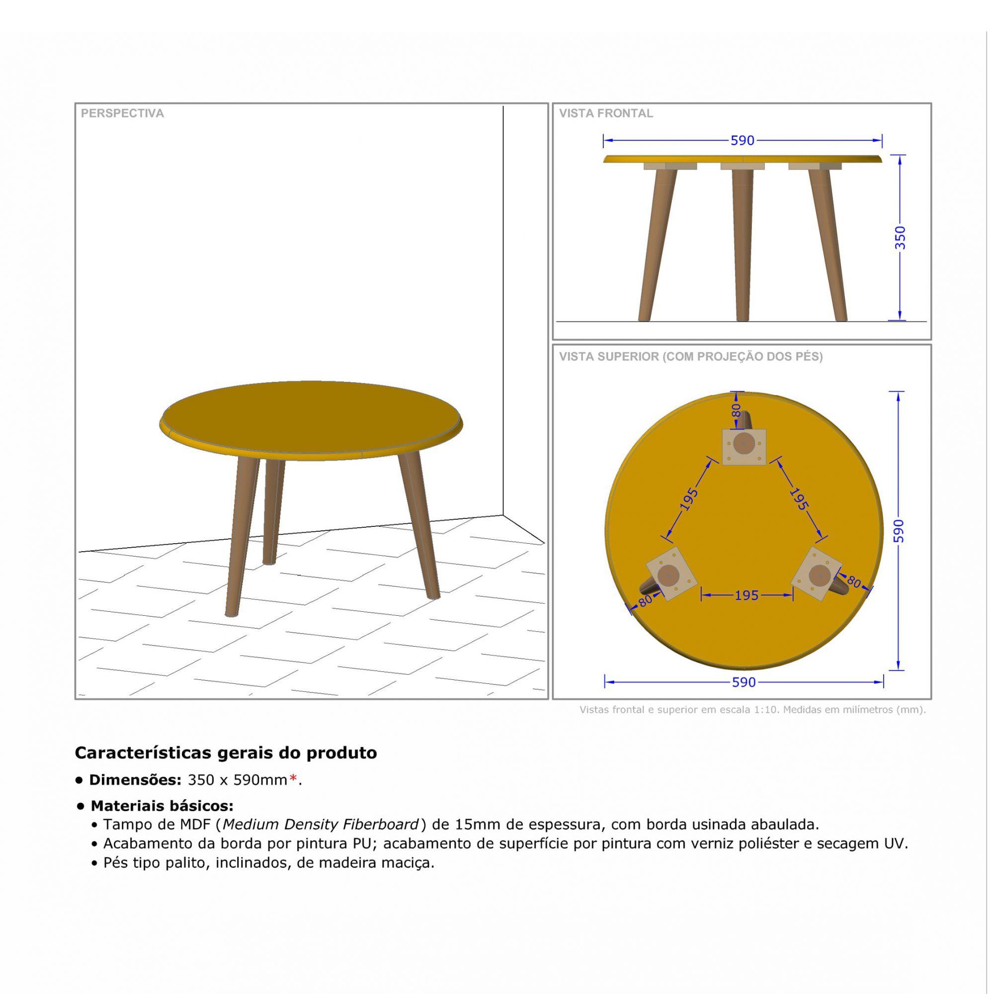 Mesa de Centro Amarelo