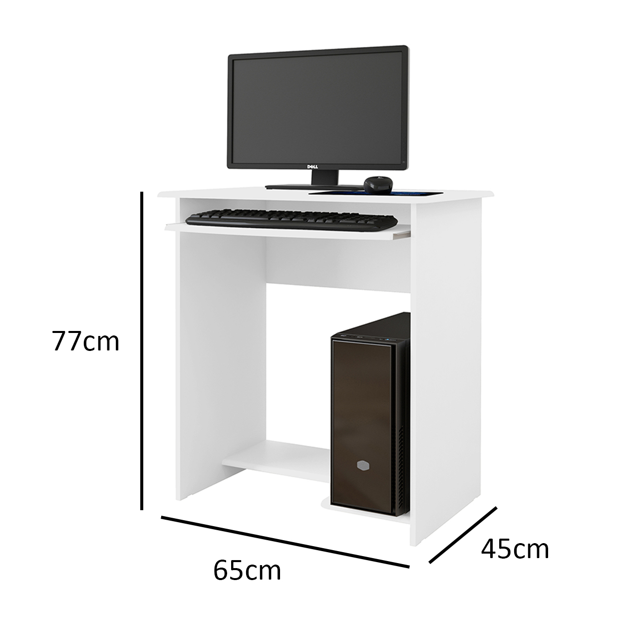 Mesa de Computador Pratica Branco - EJ Móveis