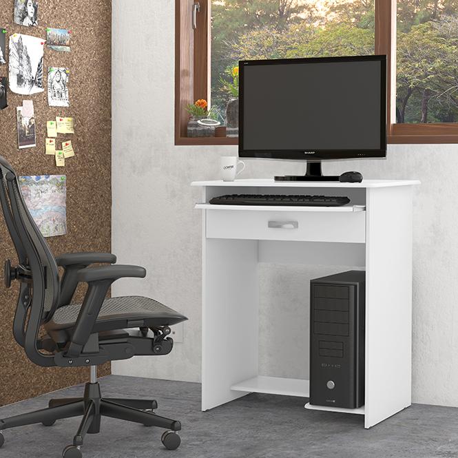 Mesa de Computador Pratica C/ Gaveta Branco -  EJ Móveis