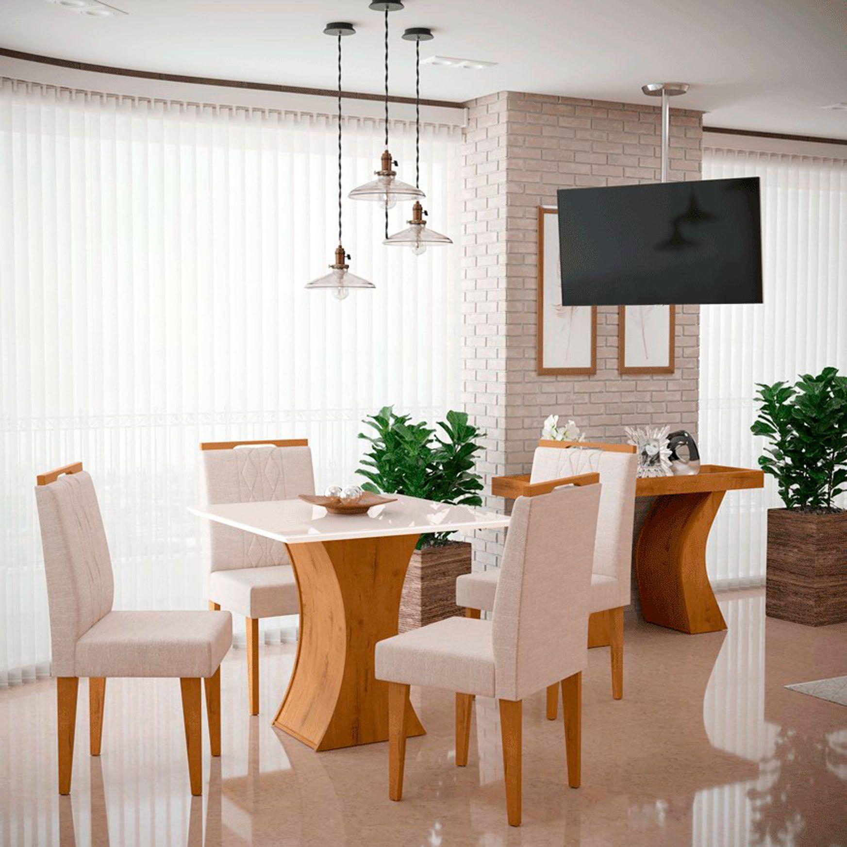 Mesa de Jantar Com 4 Cadeiras Gabrielle Canela / Off White