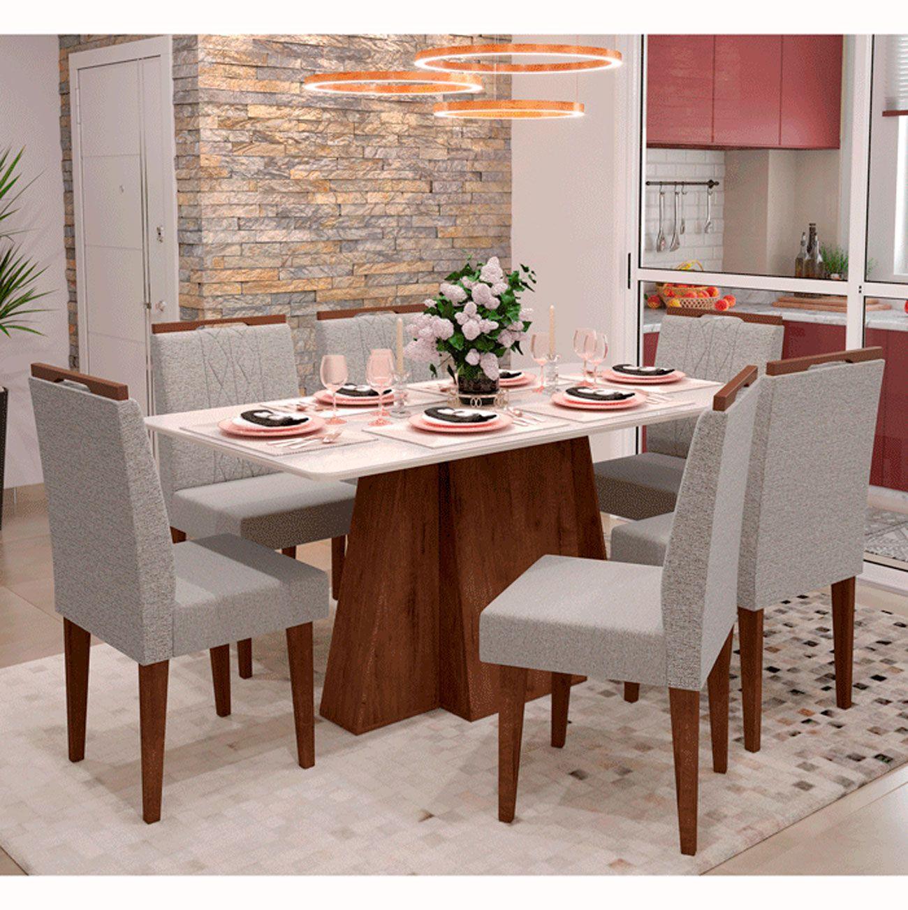 Mesa de Jantar Com 6 Cadeiras Amalfi Noce / Off White