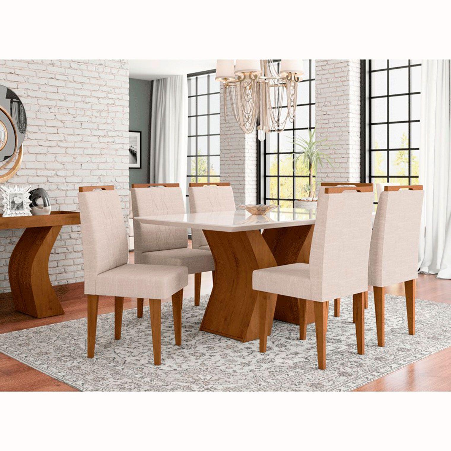 Mesa de Jantar Com 6 Cadeiras Santorini Canela / Off White