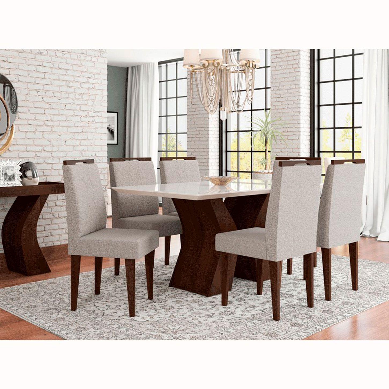Mesa de Jantar Com 6 Cadeiras Santorini Noce / Off White
