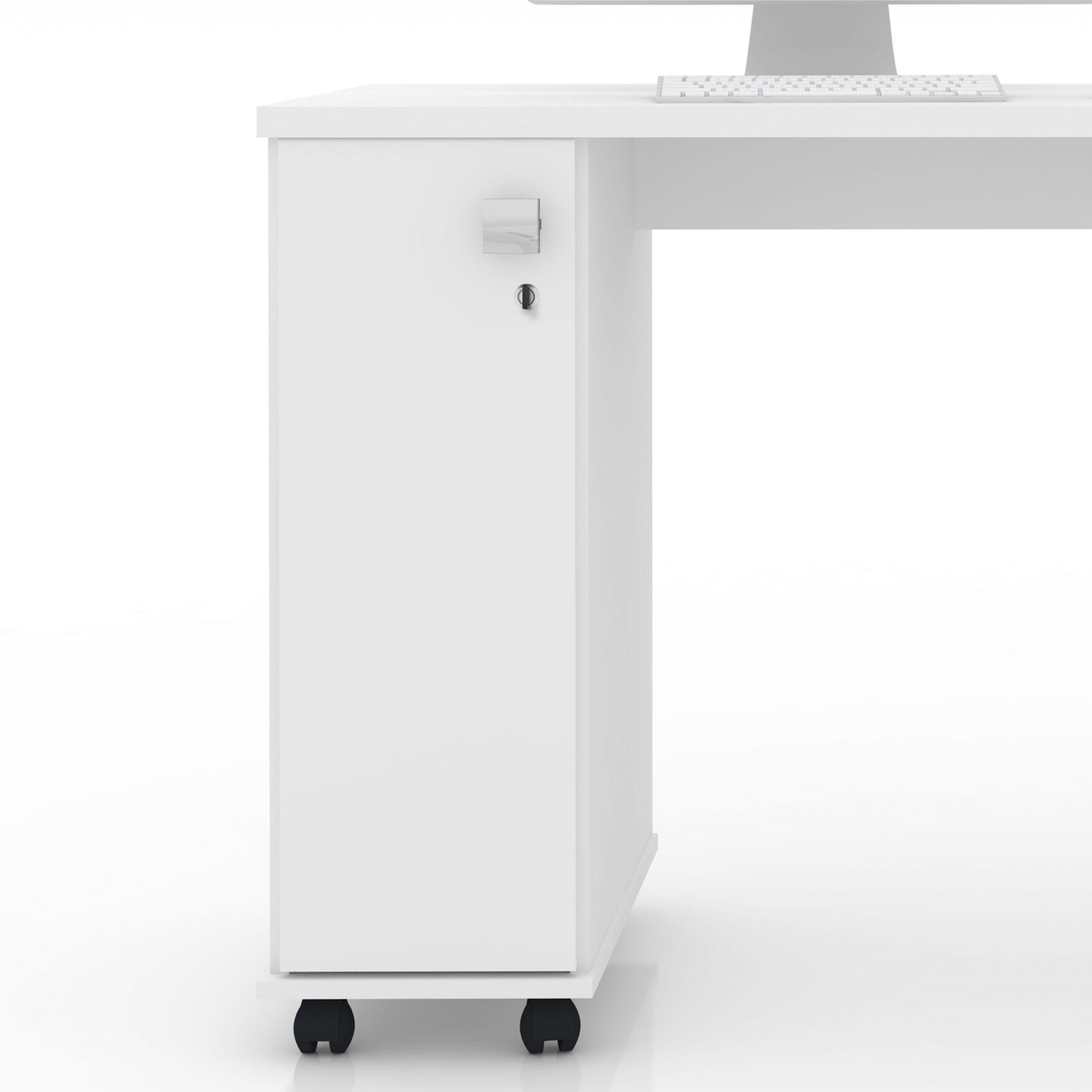 Office Escrivaninha 4 Gavetas Branco Brilho Smart
