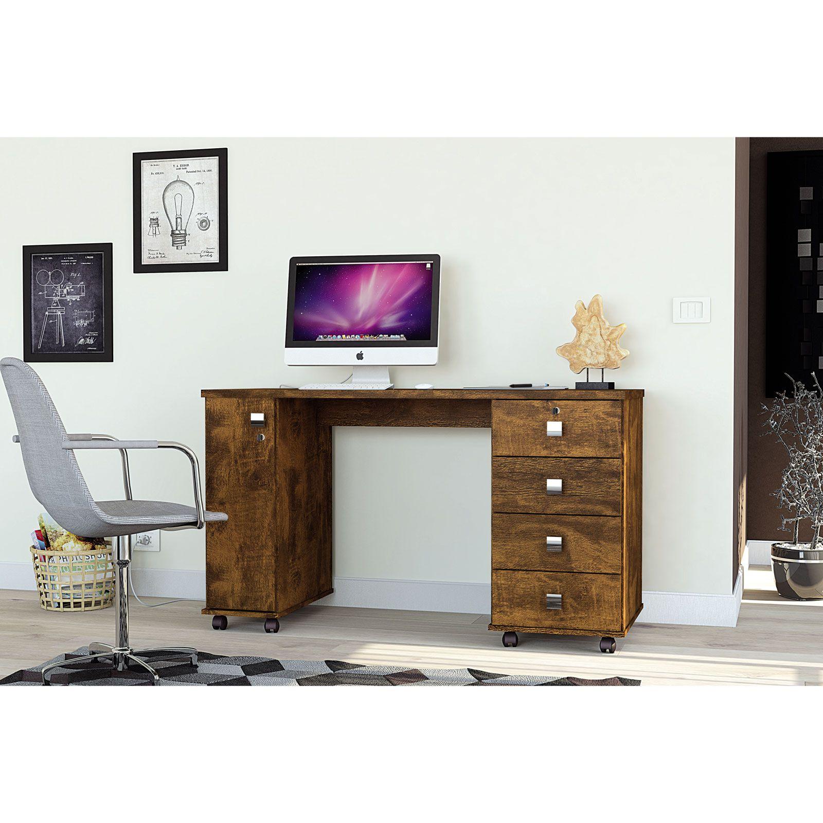 Escrivaninha 4 Gavetas Canela Office Smart