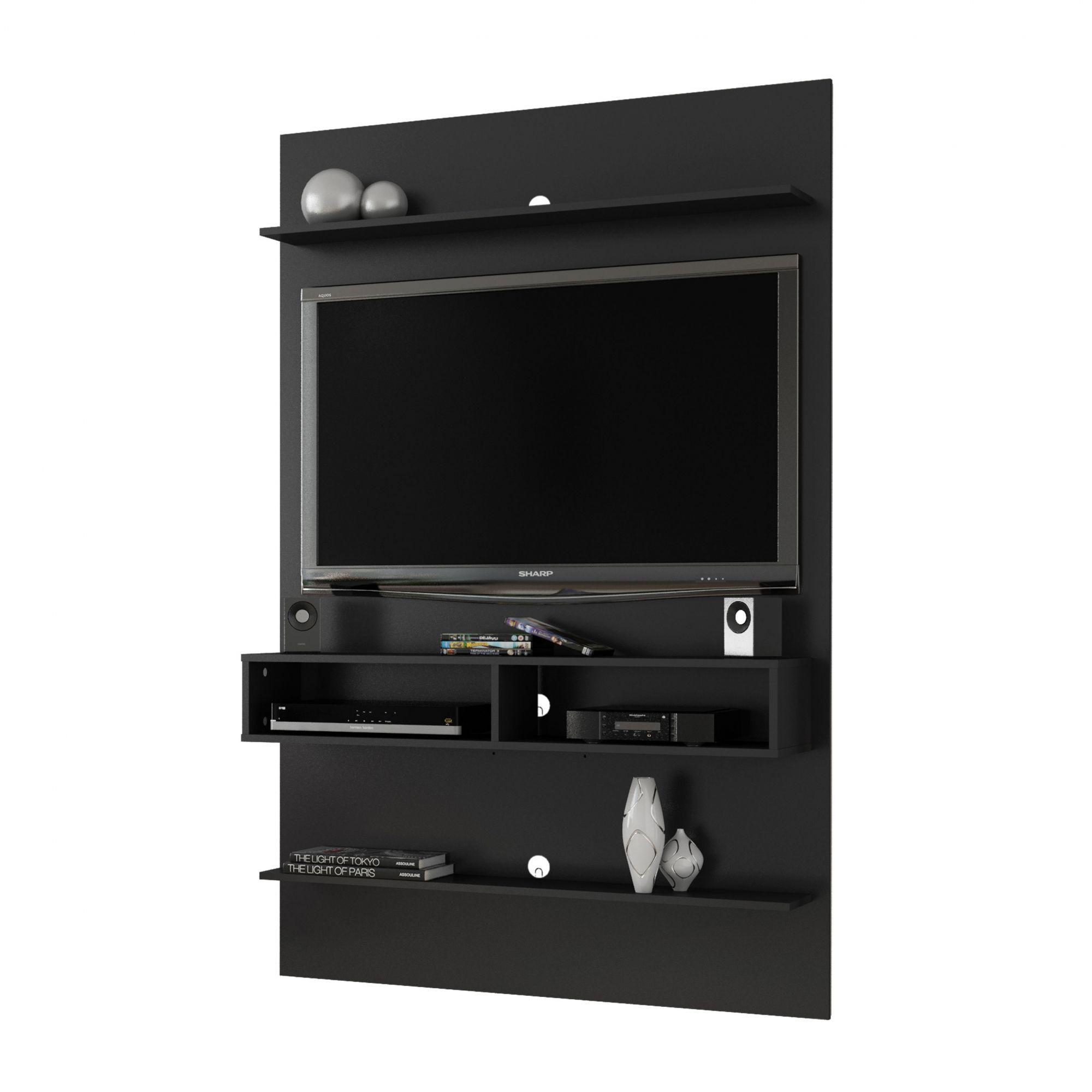Painel para tv até 47'' com Mesas Retrô Preto Fosco Vega - Móveis Bechara