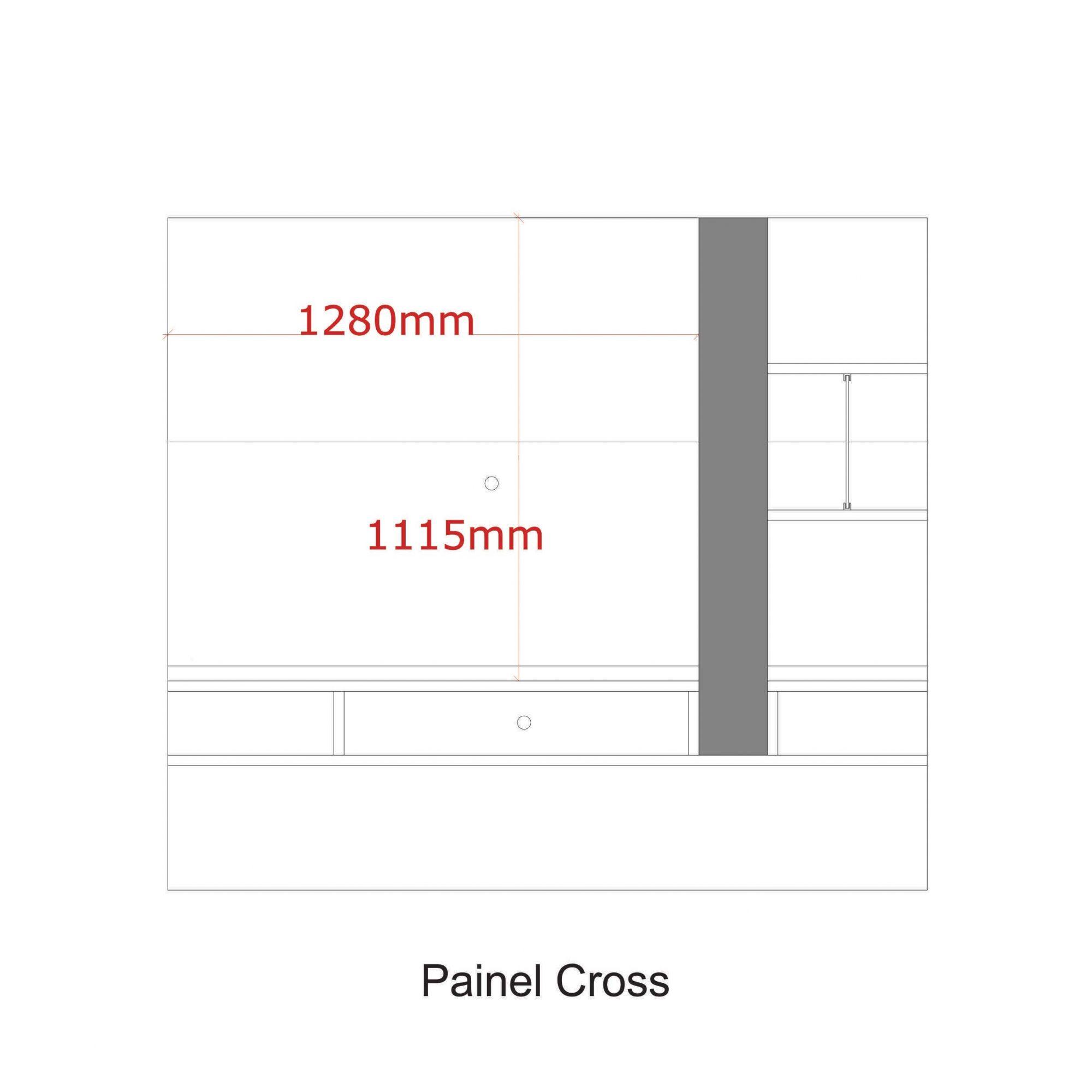 Painel para tv até 55'' Amêndoa / Off White Cross
