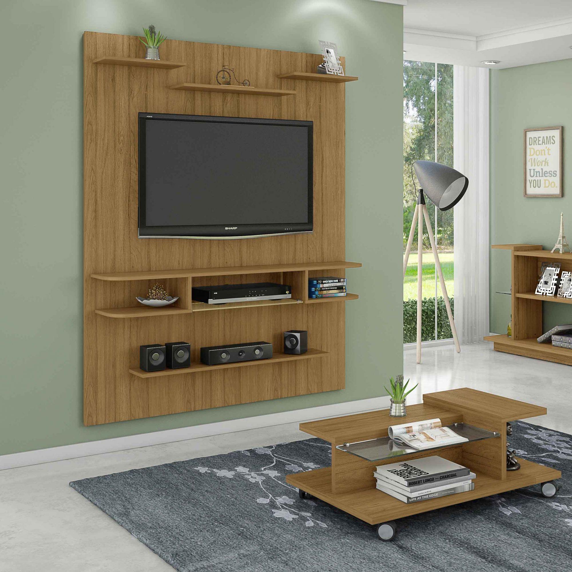 Painel para tv até 55' com Mesa de Centro Sigma Flora Cinamomo - Móveis Bechara
