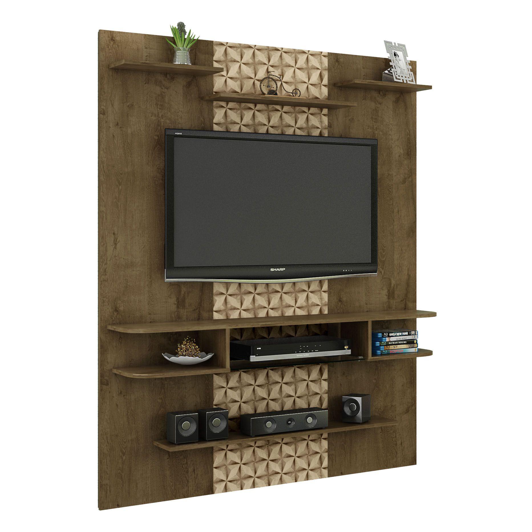 Painel para tv até 55' com Mesa de Centro Sigma Flora Madeira Rústica / Madeira 3D - Móveis Bechara