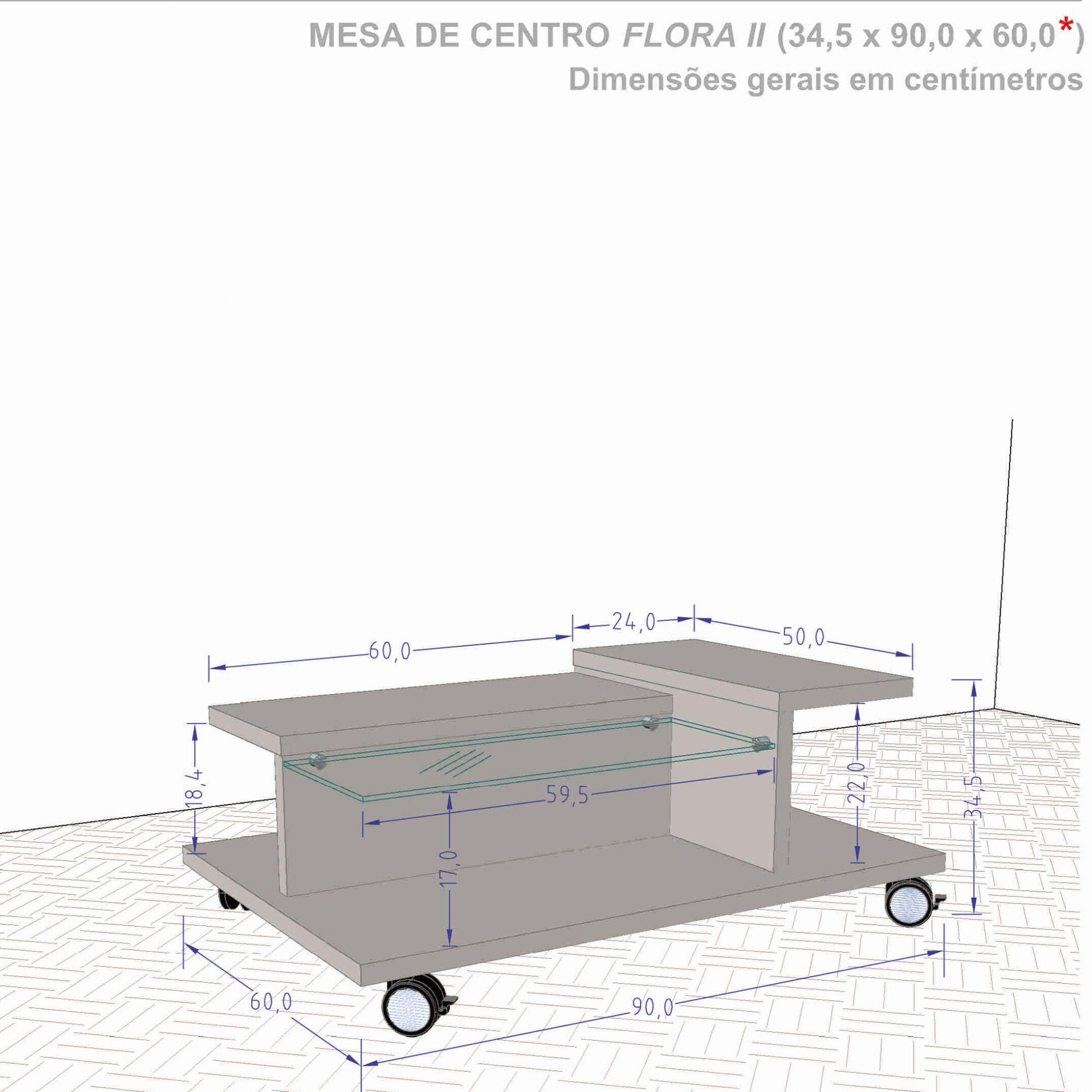 Painel para tv até 55' com Mesa de Centro Sigma Flora Madeira Rústica - Móveis Bechara