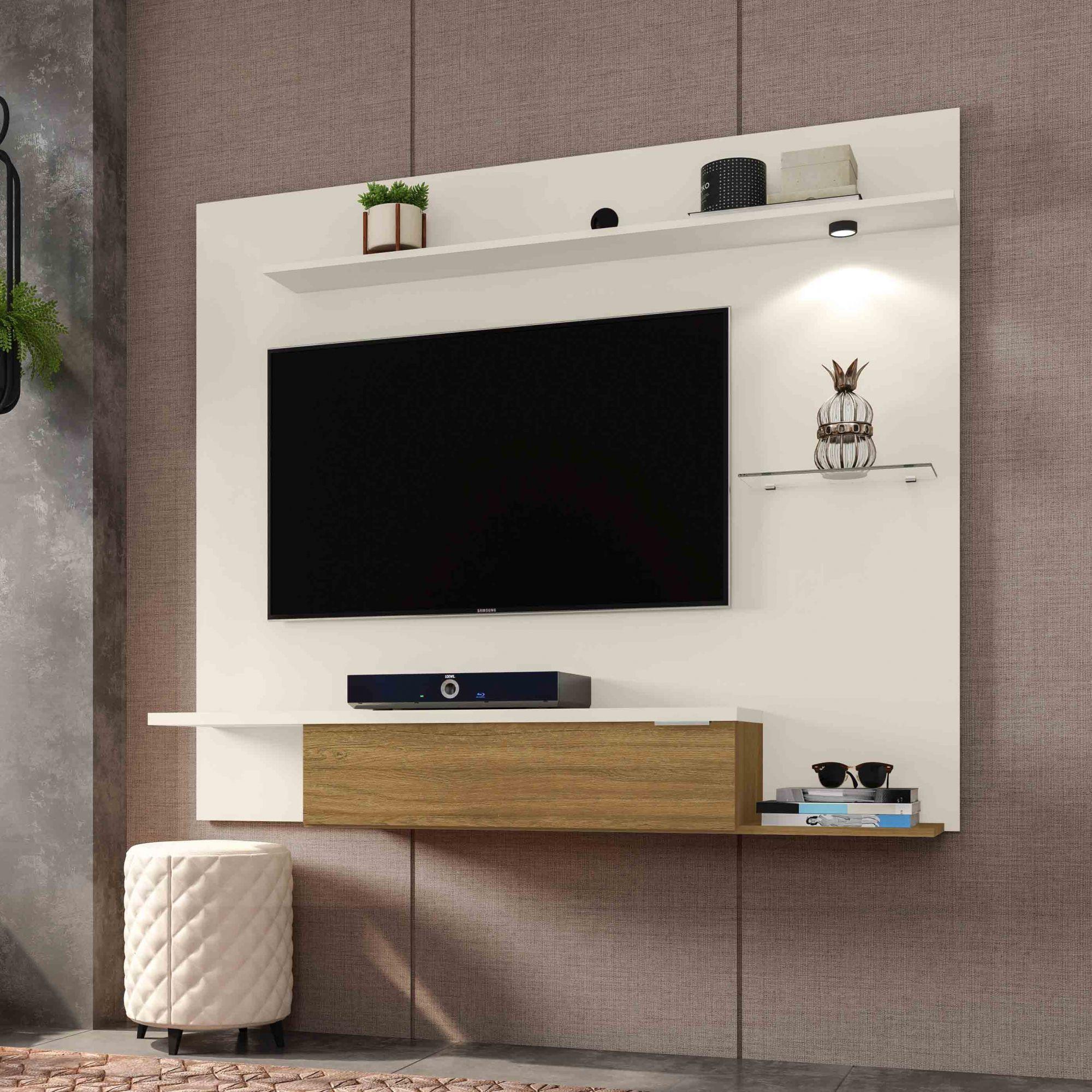 Painel para tv até 55'' Ubatuba Off-White / Cinamomo - Móveis Bechara