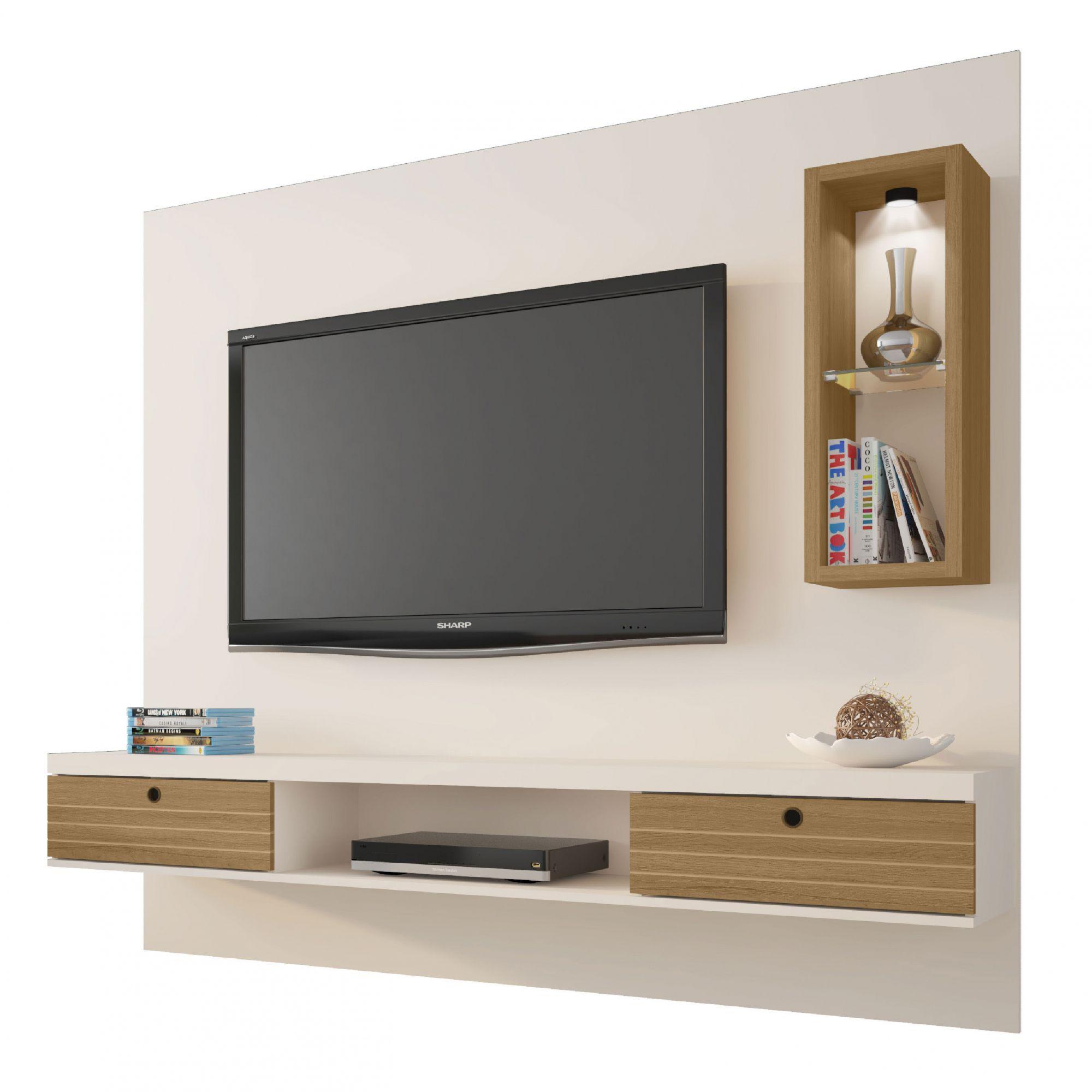 Painel para tv até 65'' Bancada Diamante II Off White / Cinamomo - Móveis Bechara