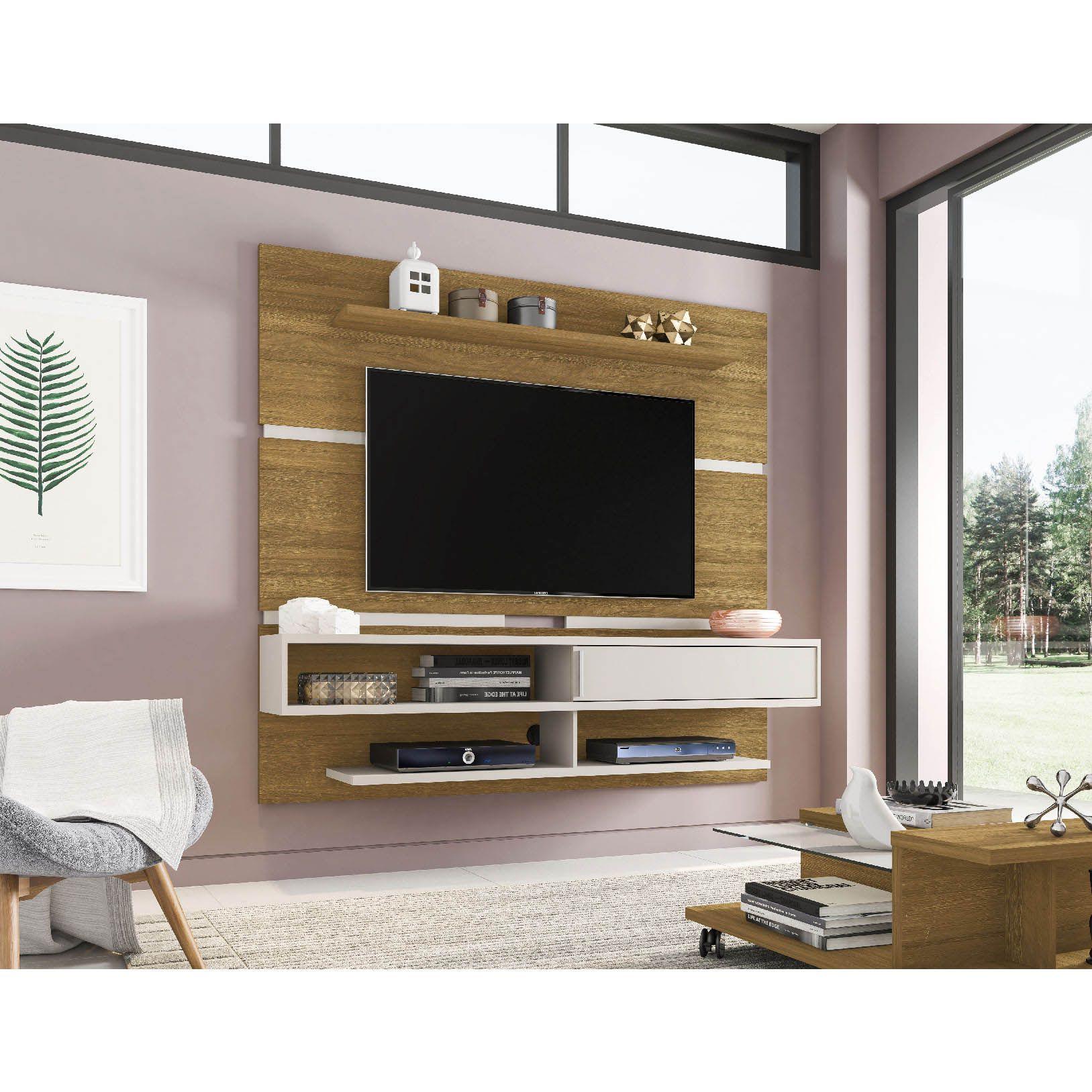 Painel para tv até 65'' Búzios Cinamomo / Off-White - Móveis Bechara