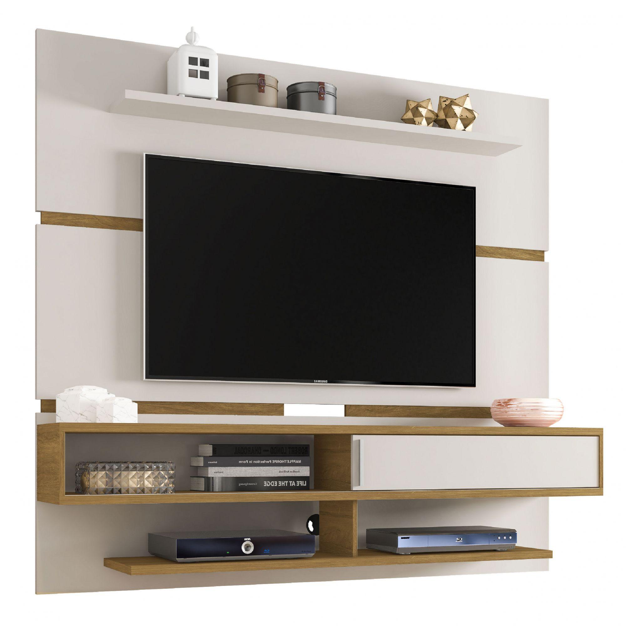 Painel para tv até 65'' Búzios Off-White / Cinamomo - Móveis Bechara