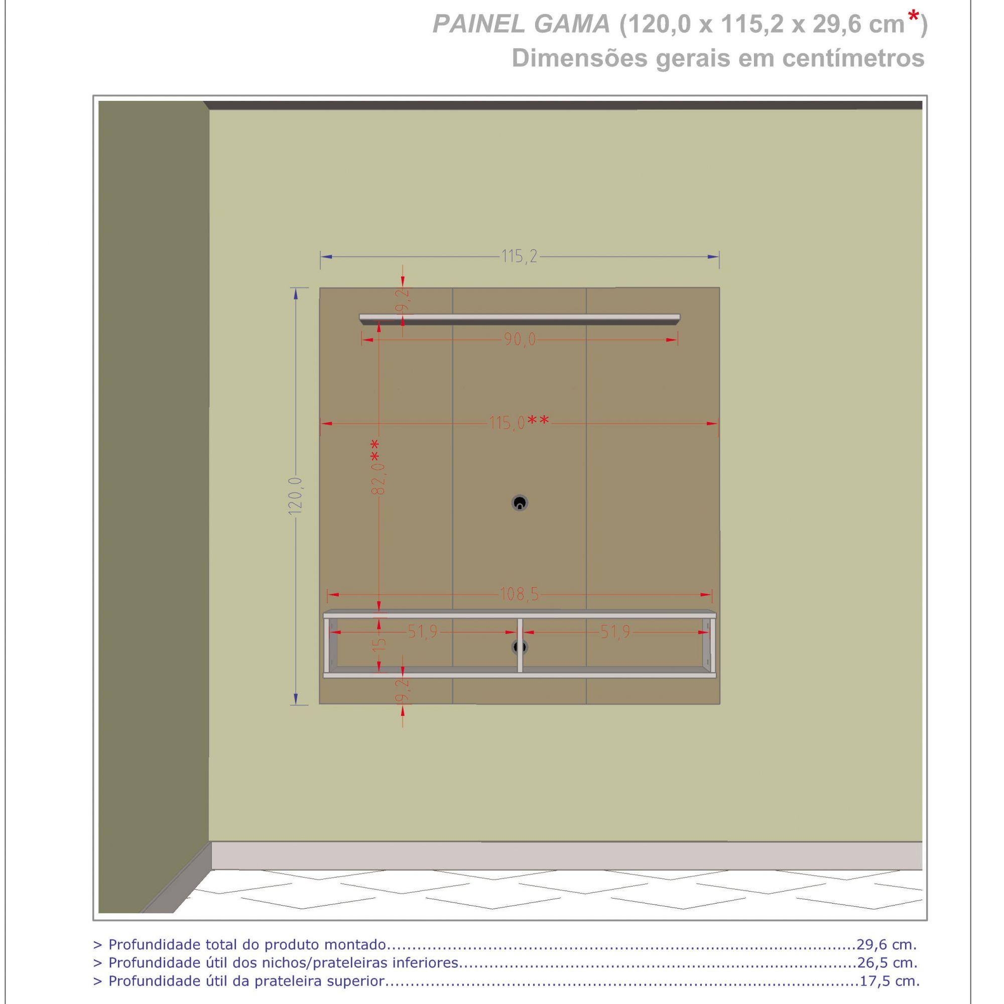 Painel para tv de ate 47'' Gama Madeira Rústica / Madeira 3D - Móveis Bechara