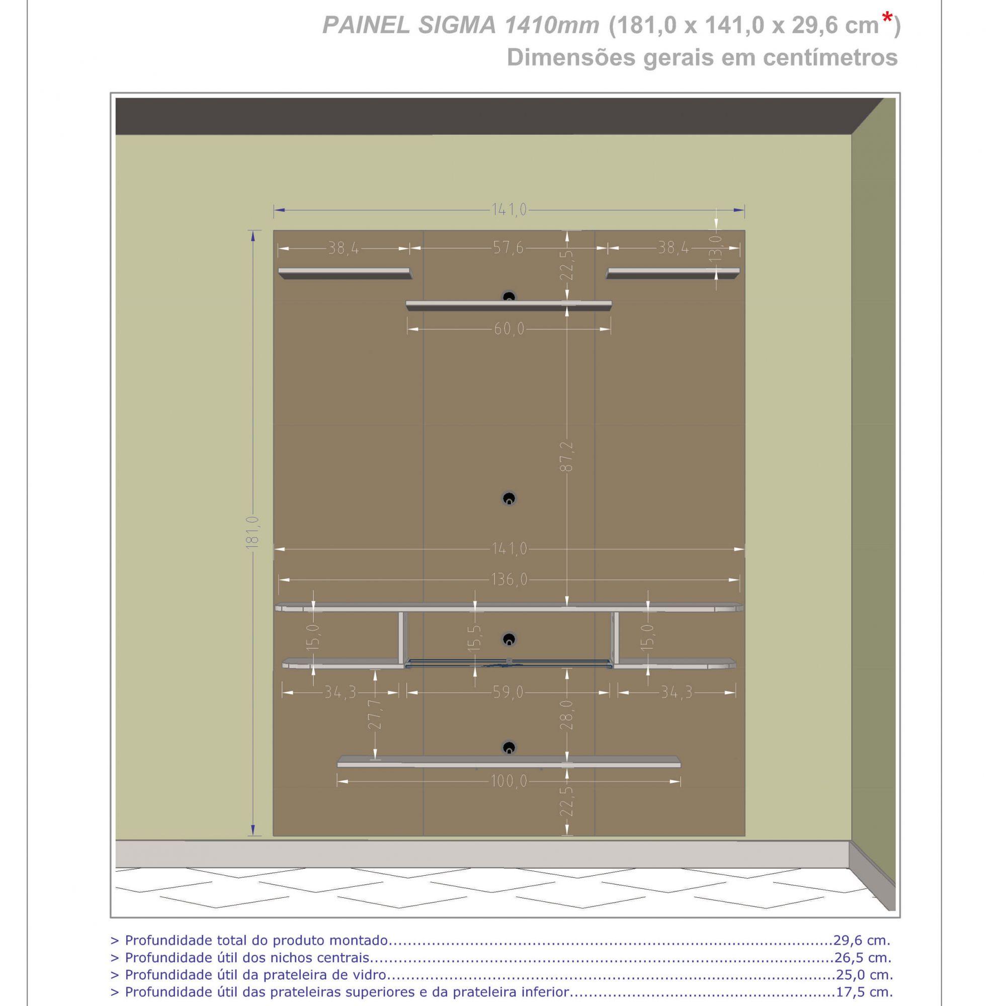 Painel para tv de ate 55 Sigma Madeira Rustica / Madeira 3D - Moveis Bechara