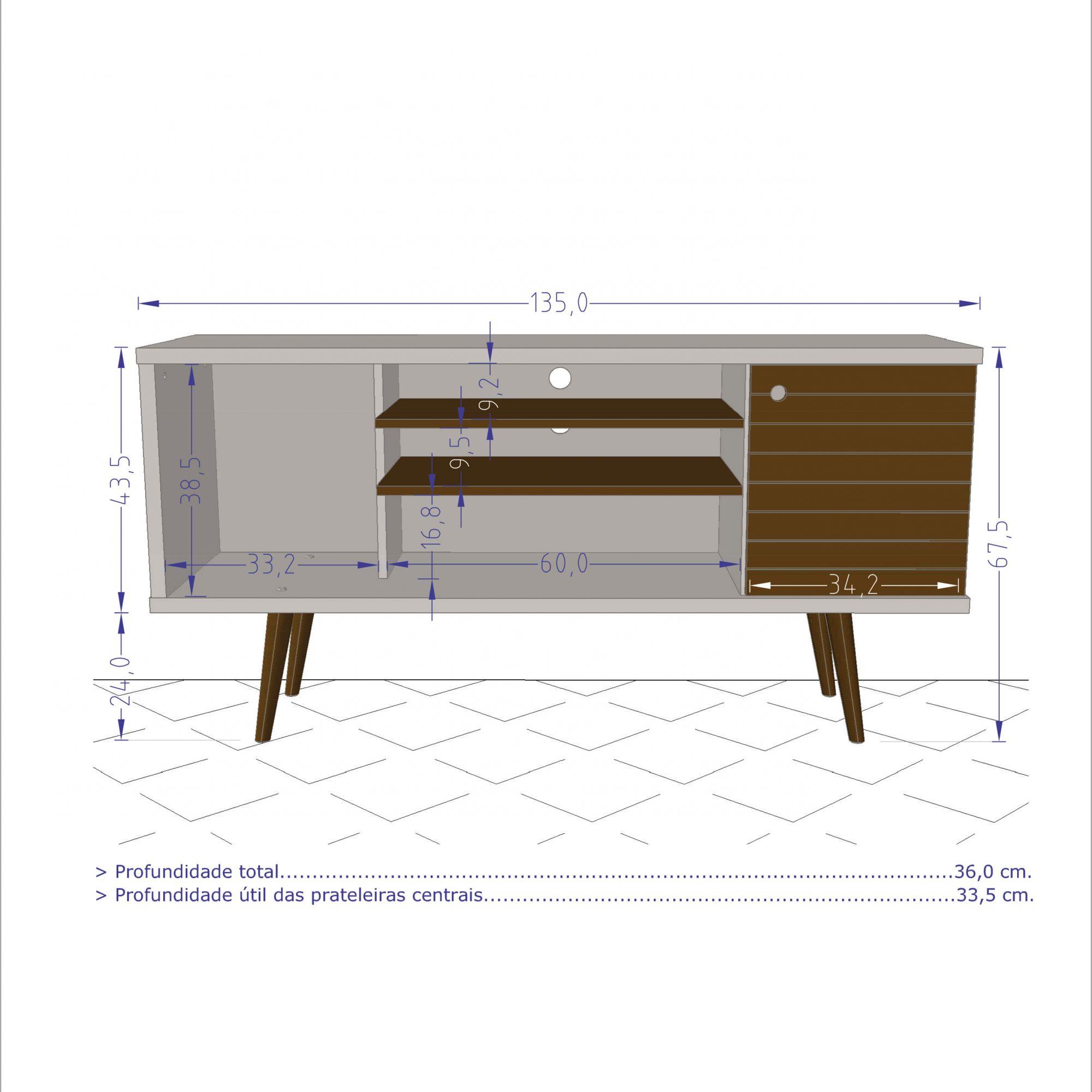 Rack Safira Madeira Rustica / Madeira 3D - Moveis Bechara