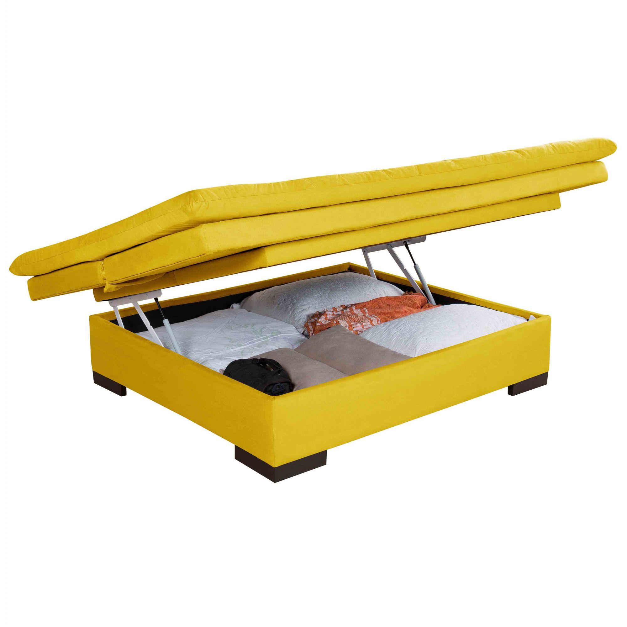 Sofá Cama 3 Lugares Reclinável com Bau Valentim Amarelo
