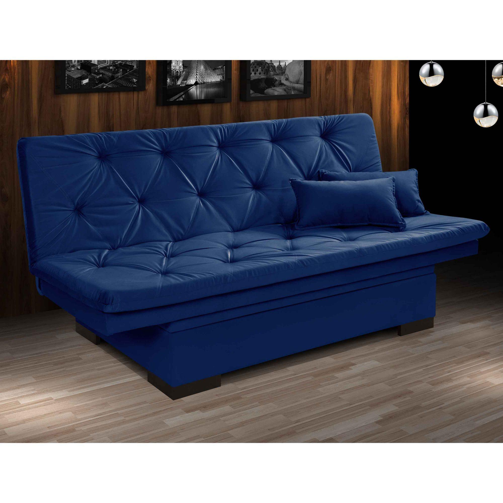 Sofá Cama 3 Lugares Reclinável com Bau Valentim Azul Marinho