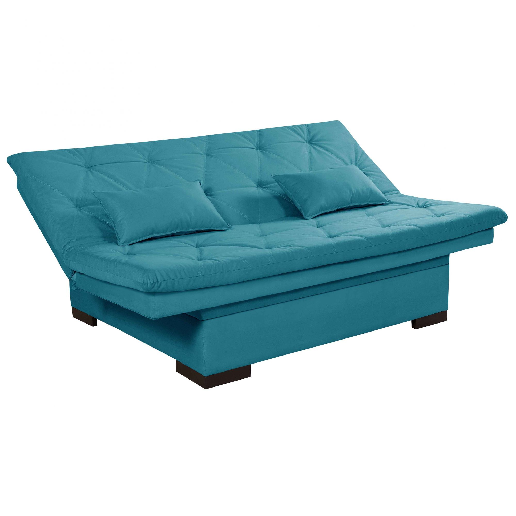 Sofá Cama 3 Lugares Reclinável com Bau Valentim Azul Turquesa