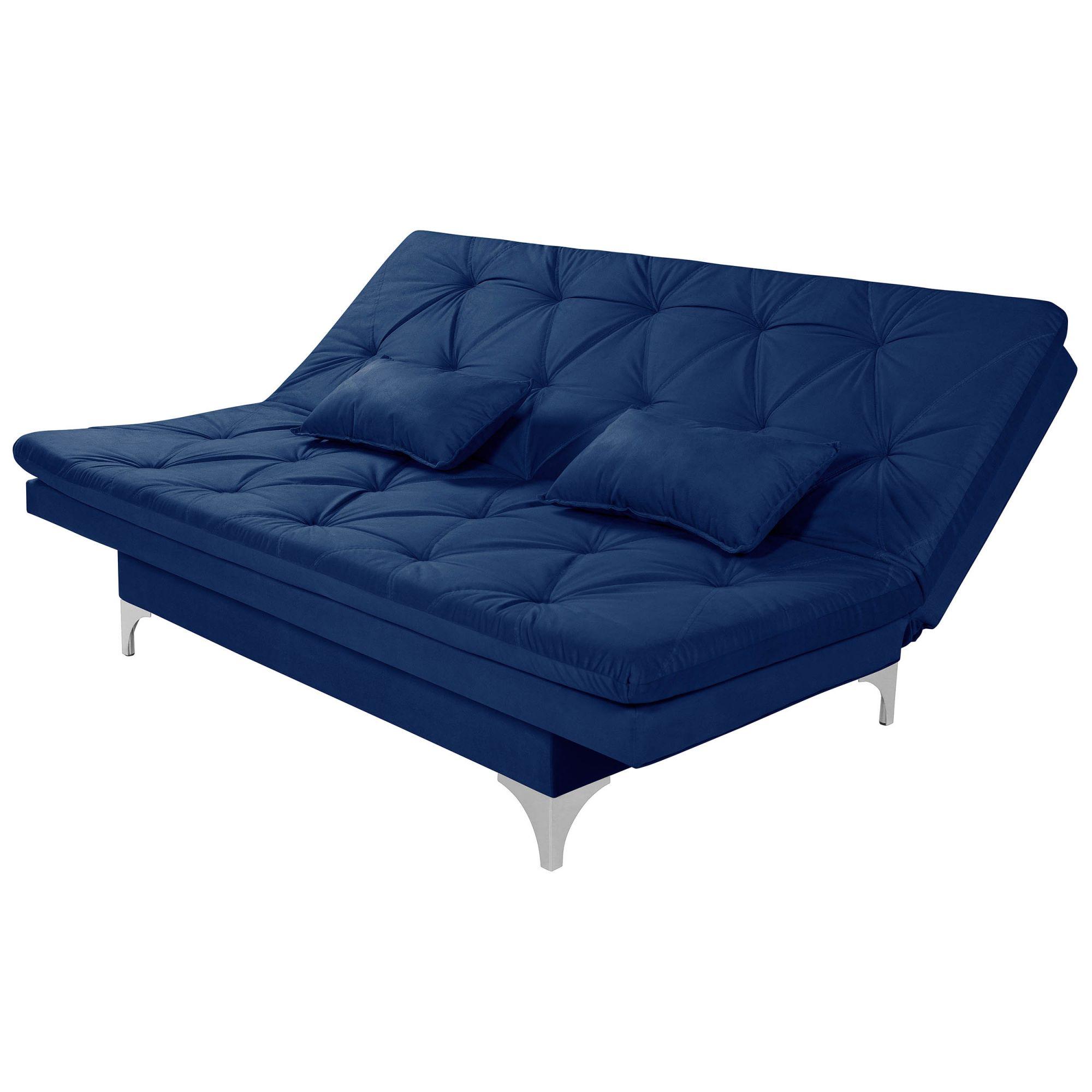 Sofá Cama 3 Lugares Reclinável Estofado Azul Marinho