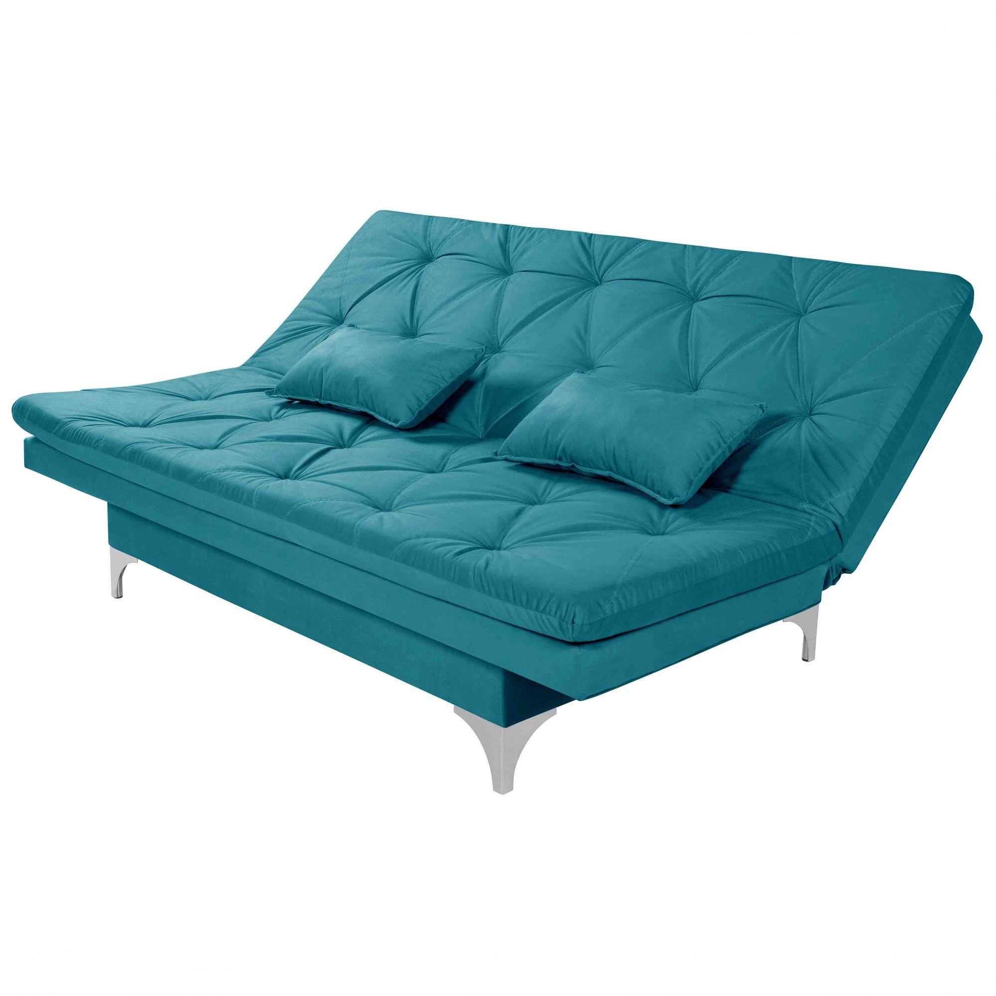 Sofá Cama 3 Lugares Reclinável Estofado Azul Turquesa