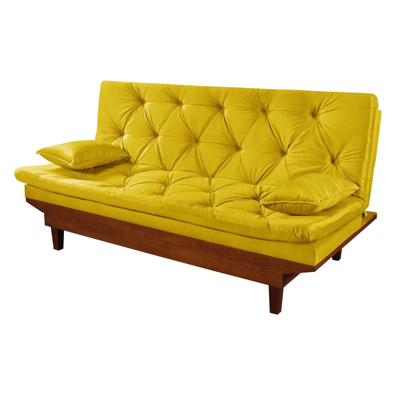 Sofá Cama Reclinável Caribe Amarelo