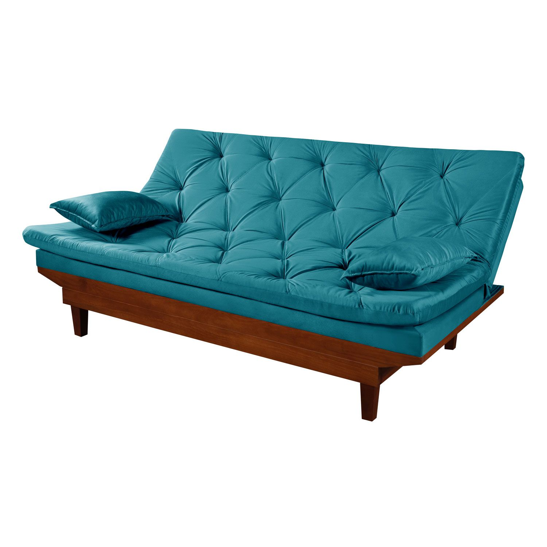 Sofá Cama Reclinável Caribe Azul Turquesa