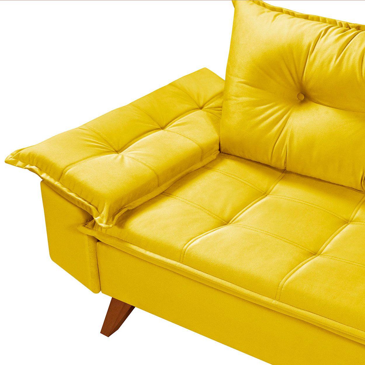 Sofá Retrô Bariloche 3 Lugares Amarelo