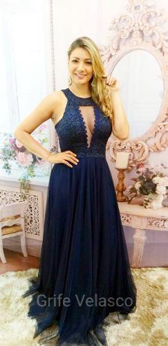 455e1e6e01 ... Vestido Festa Azul Marinho - Madrinha