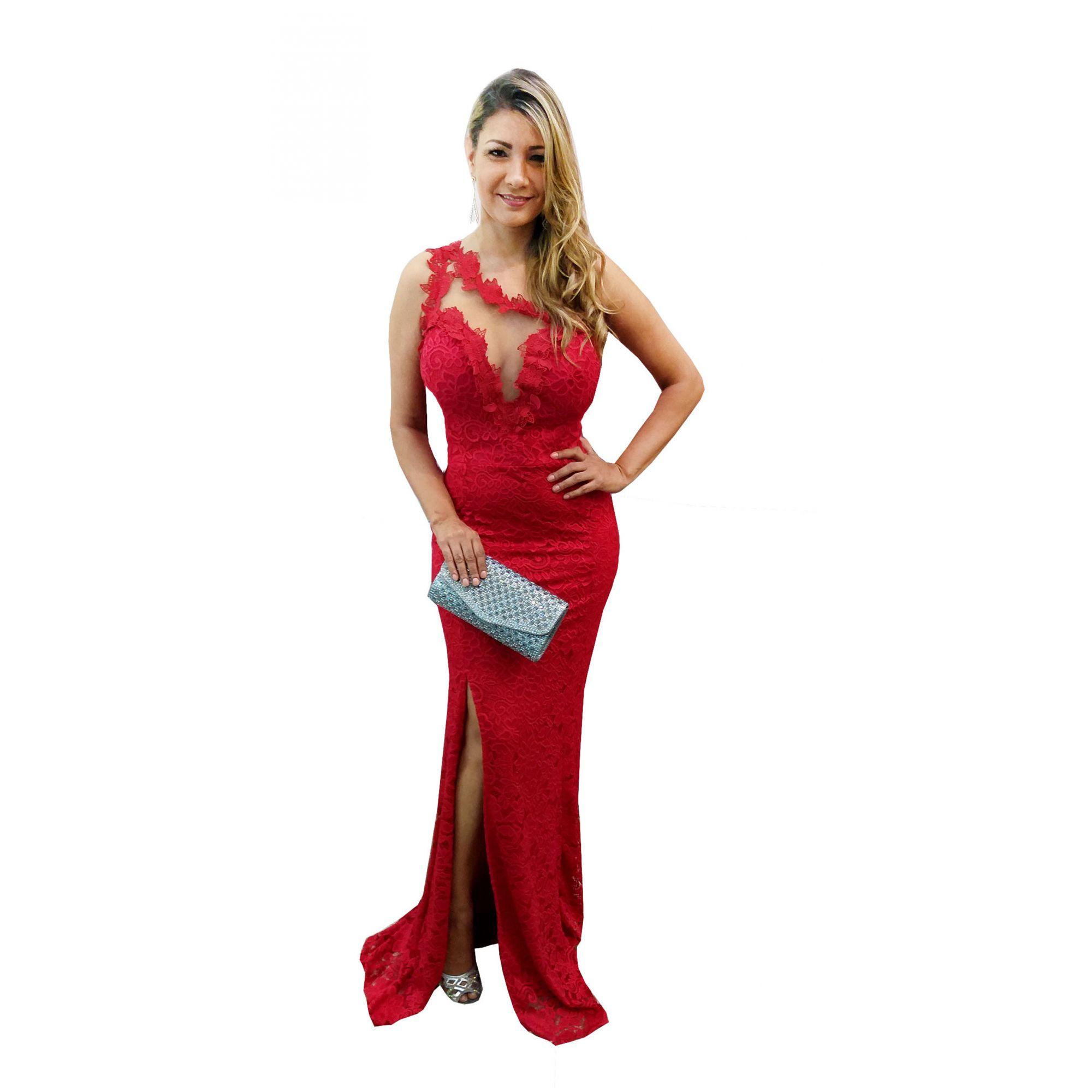892583ec1 Vestido de Festa Renda Vermelho - Fenda