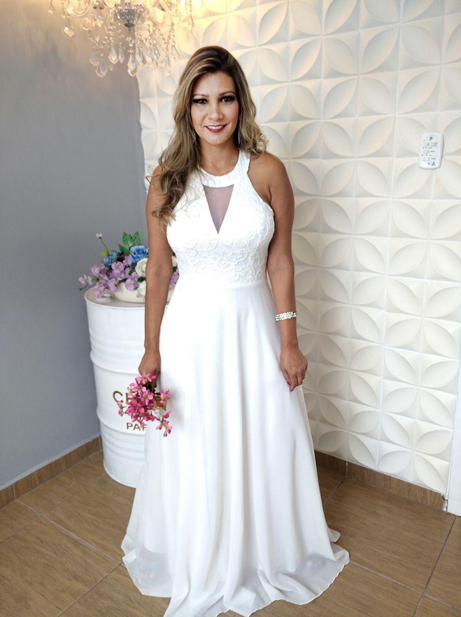 Vestido Nude Simples Noiva Maravilhoso - R$ 499,00 em