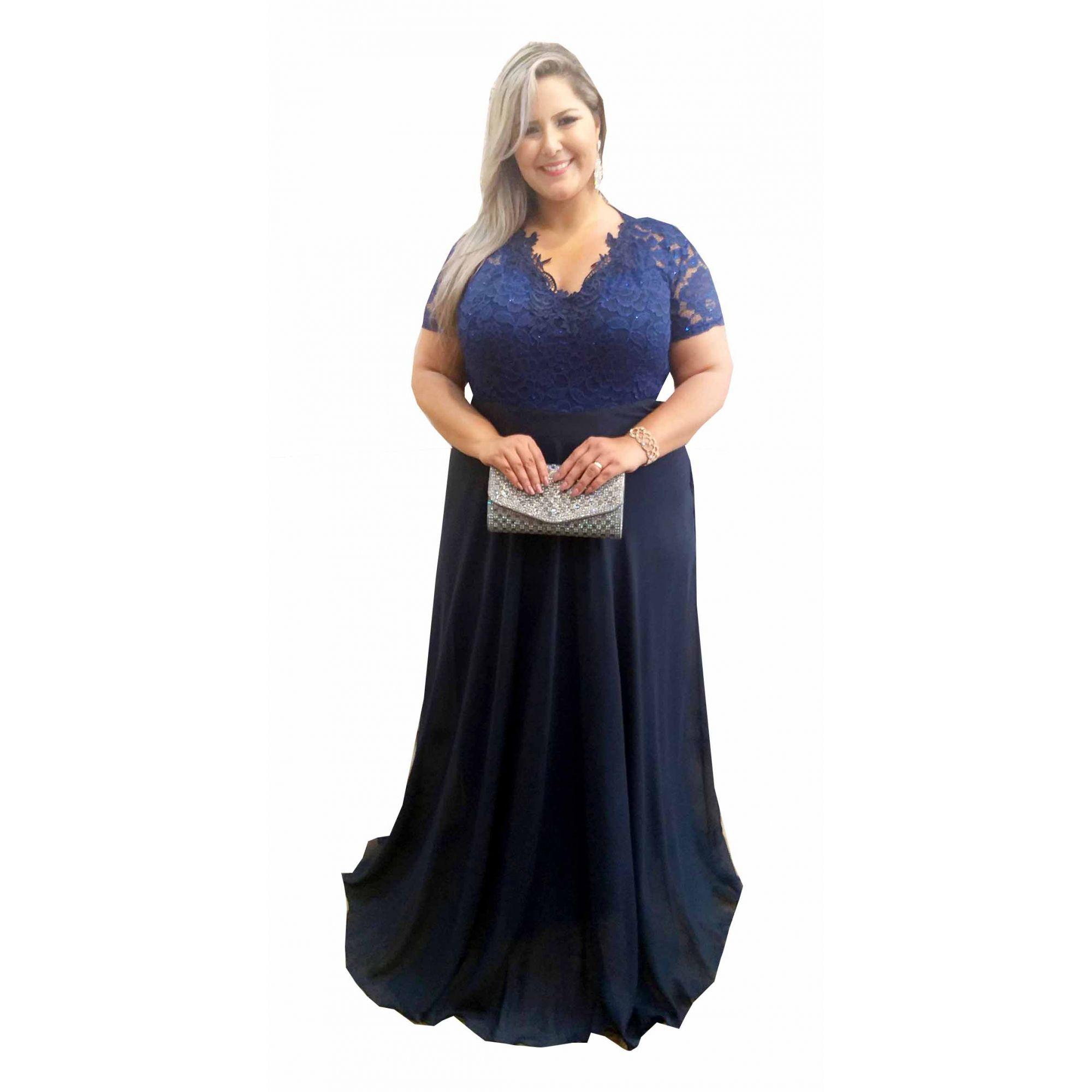 Vestido Festa Azul Marinho Plus Size Madrinha Casamento