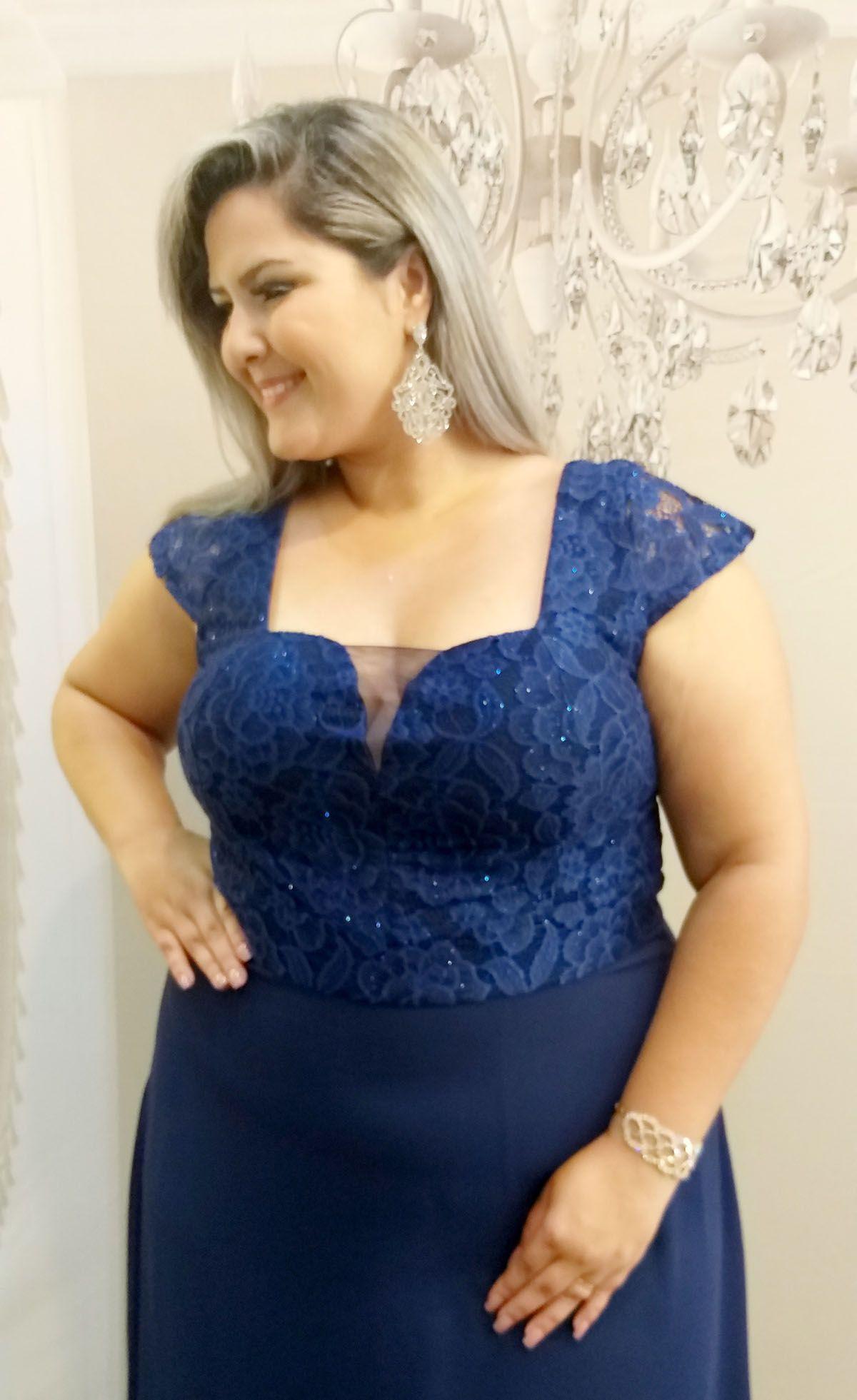 c1ba7082f3 Vestido Festa Azul Marinho Plus Size - Madrinha Luxo - Grife Velasco