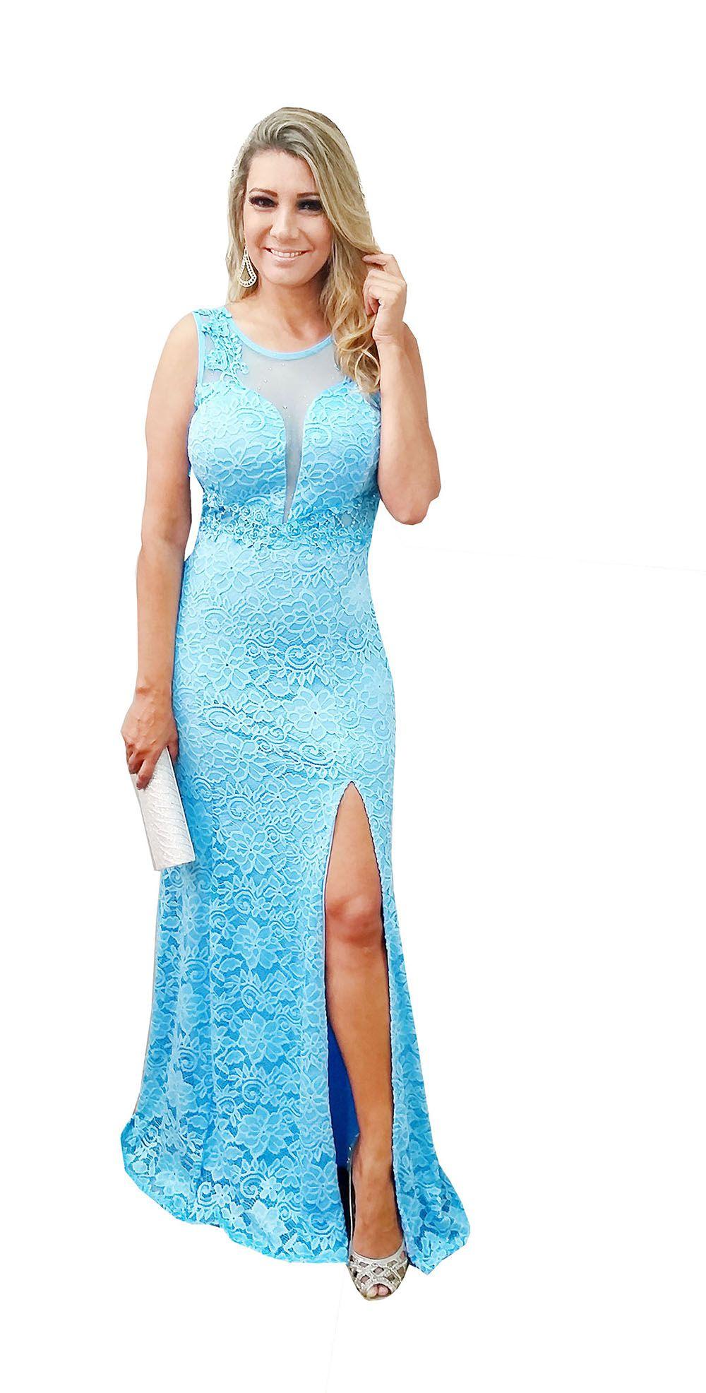d1a61f593 Vestido Festa Azul Serenity - Renda Fenda Casamento - Grife Velasco