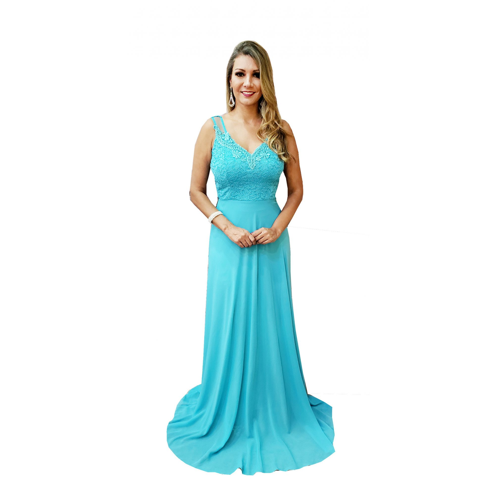 6c673e0f33a8 Vestido Festa Azul Tiffany , Casamento, Madrinha , Formatura - Grife Velasco