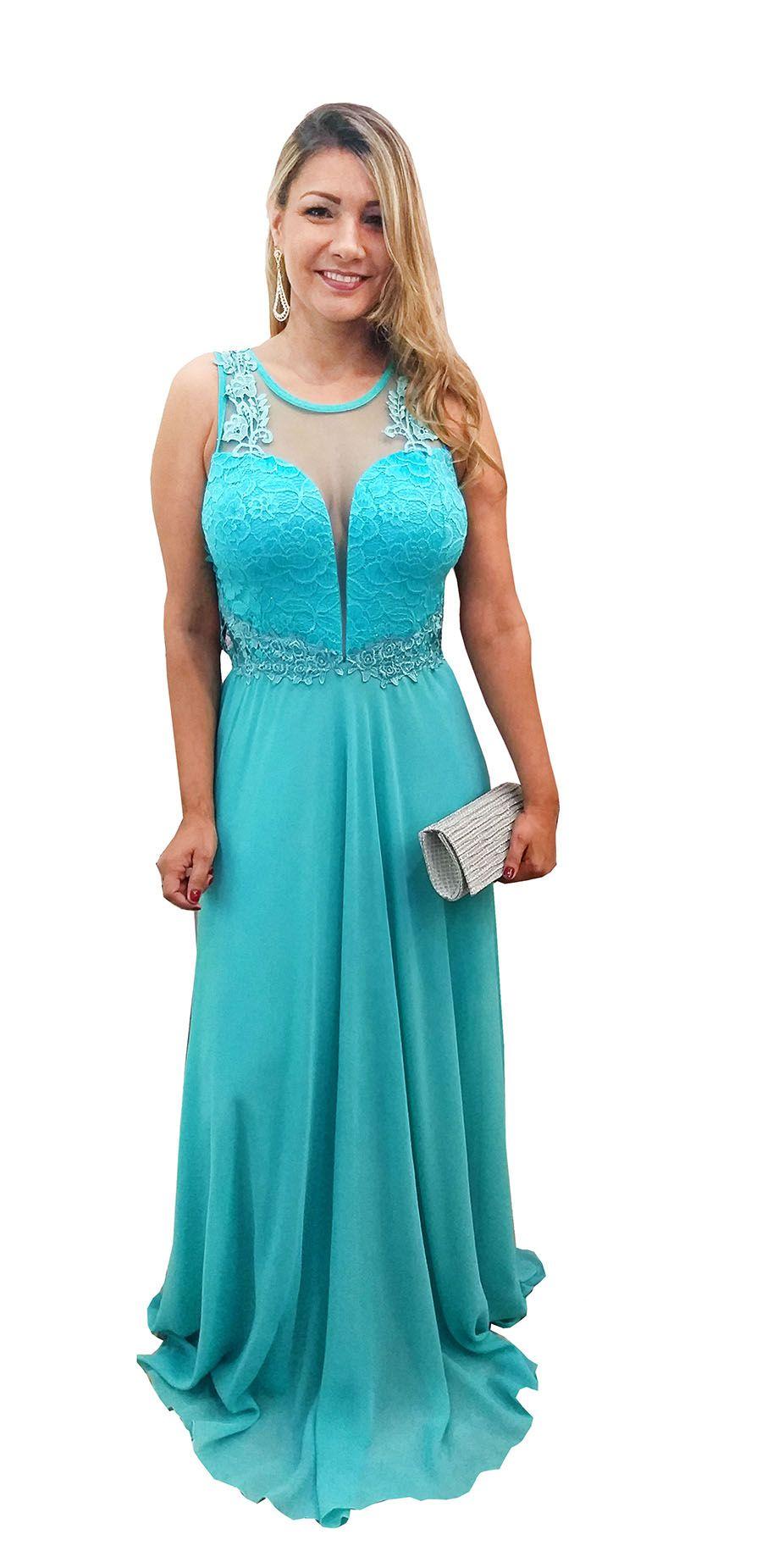 3817b5401 Vestido Festa Longo Azul Tiffany - Casamento, Madrinha - Grife Velasco