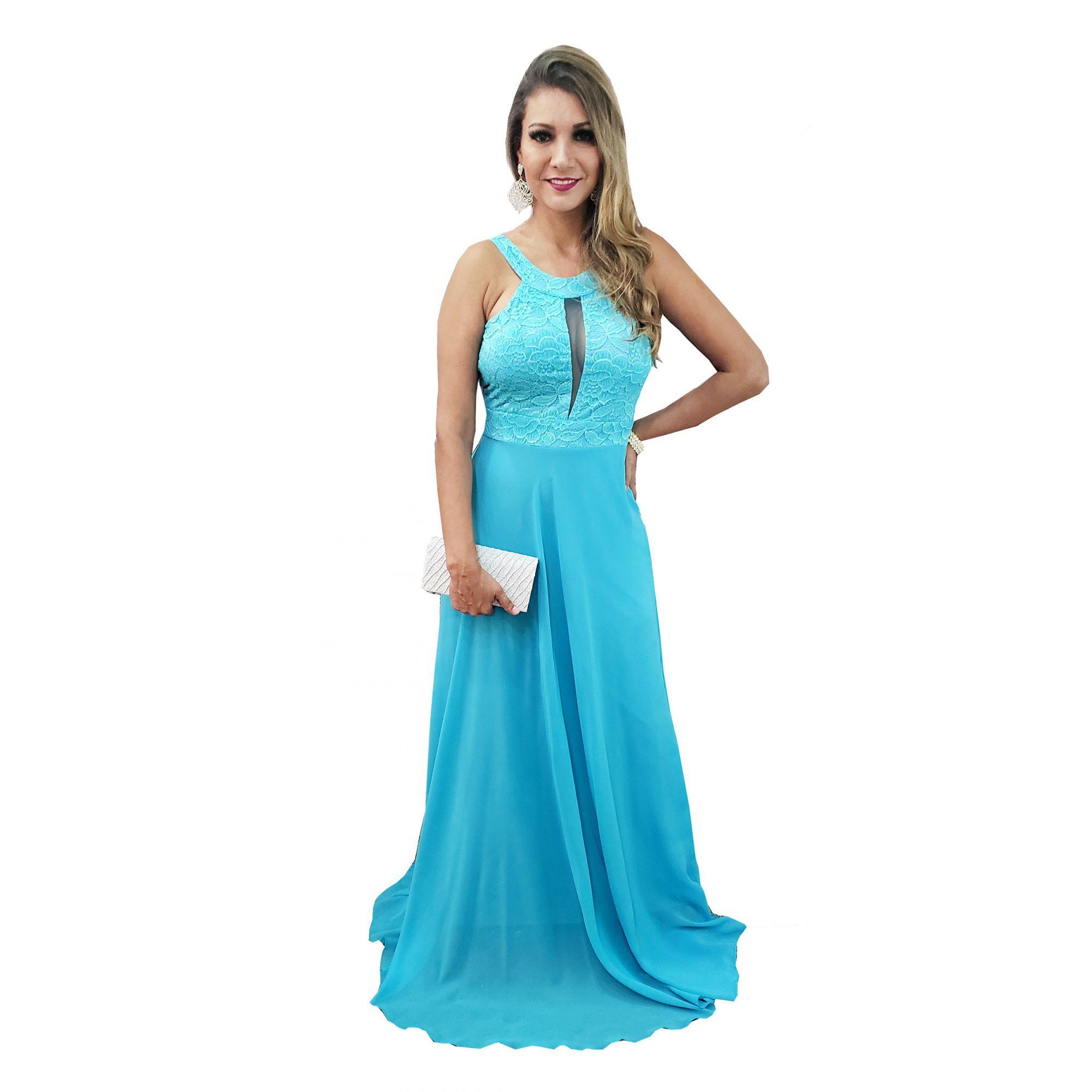 705f9a684 Vestido Festa Longo Azul Tiffany Madrinha Formatura Brilho - Grife ...