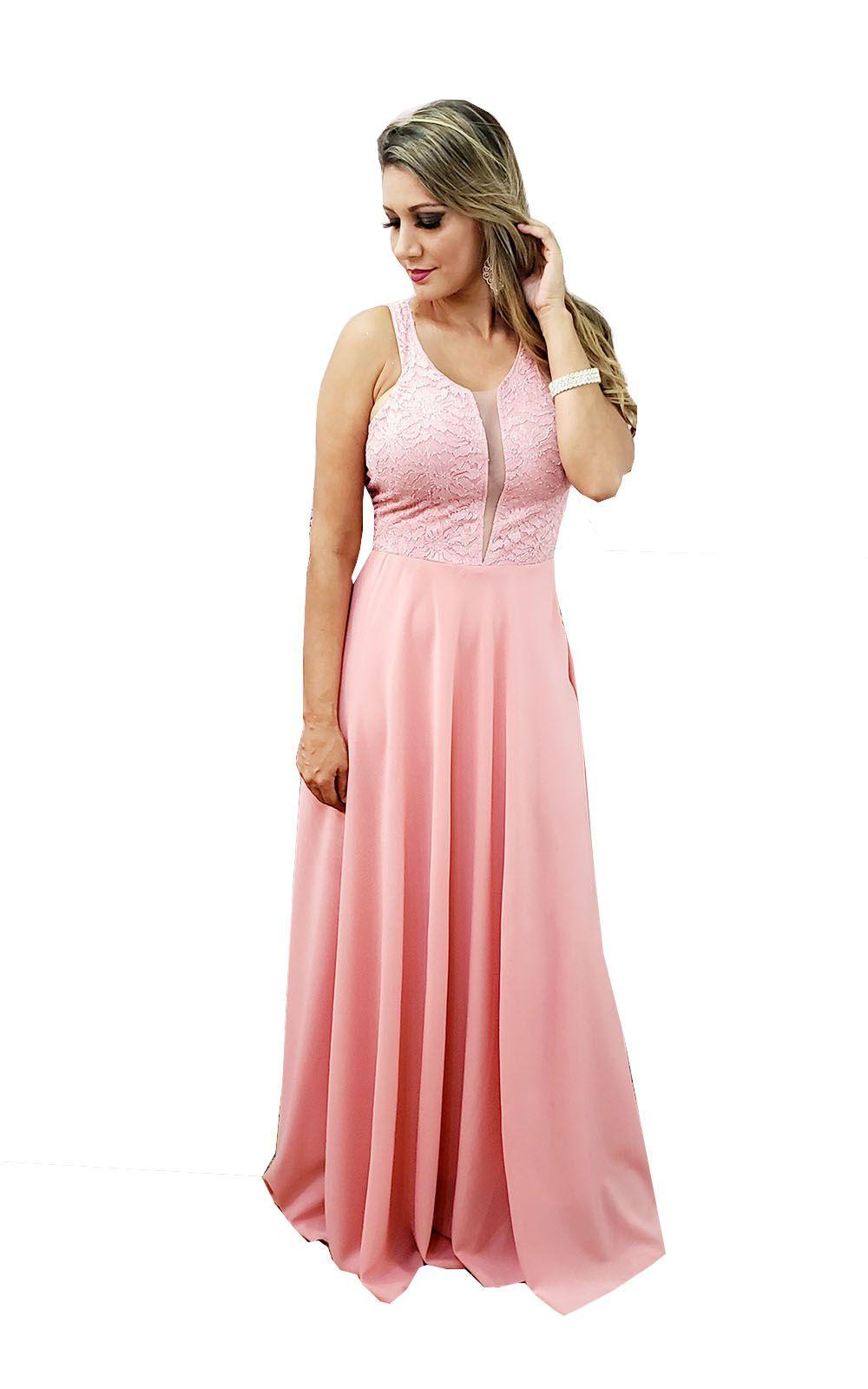 7811546f31 Vestido Festa Longo Rose