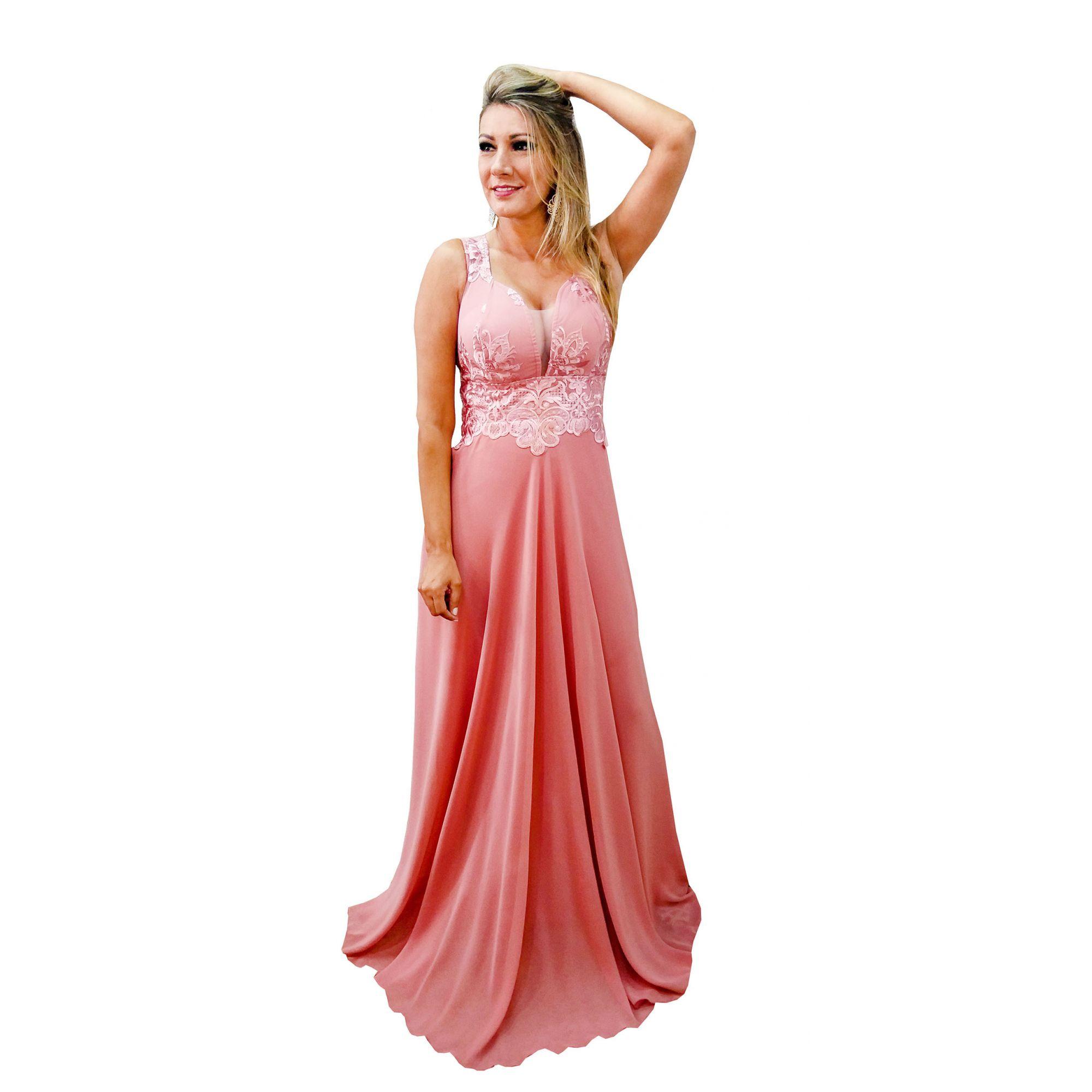3ff2fc1f9b Vestido Festa Luxo Rose