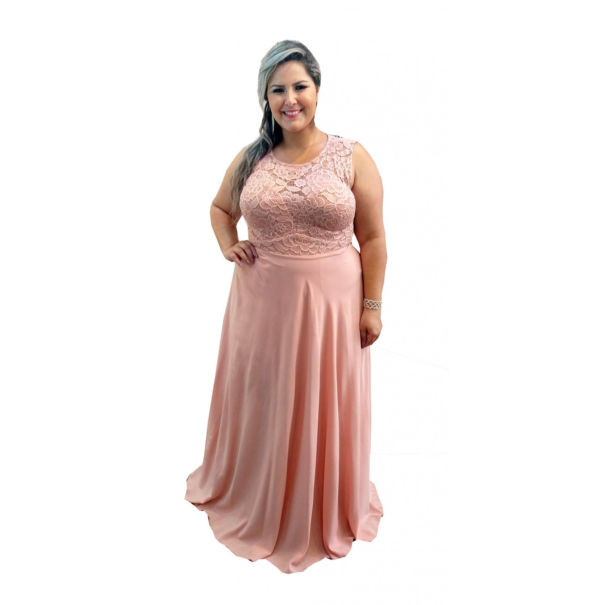 27323c0cc Vestido Festa Plus Size Rose - Madrinha Casamento Formatura